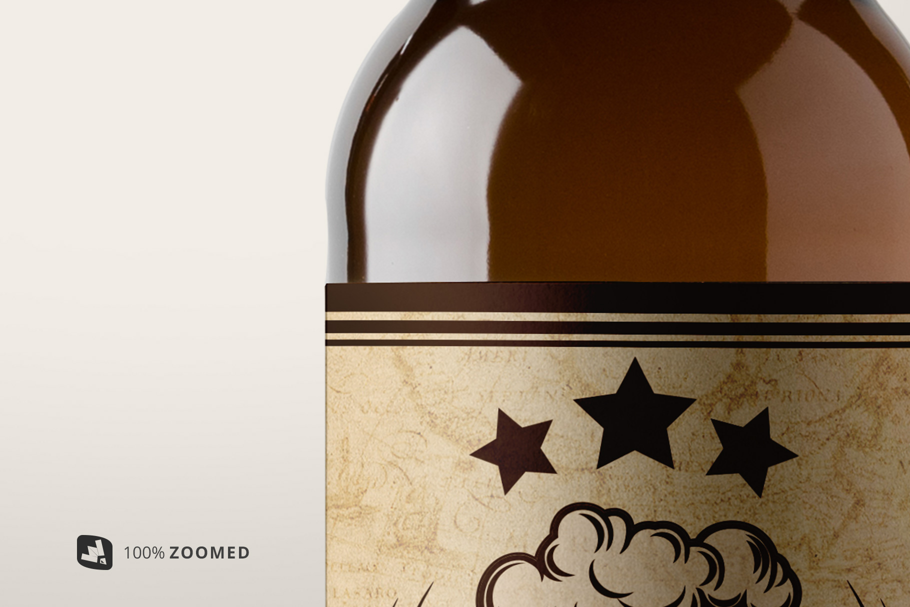 zoomed in image of the craft beer bottle packaging mockup