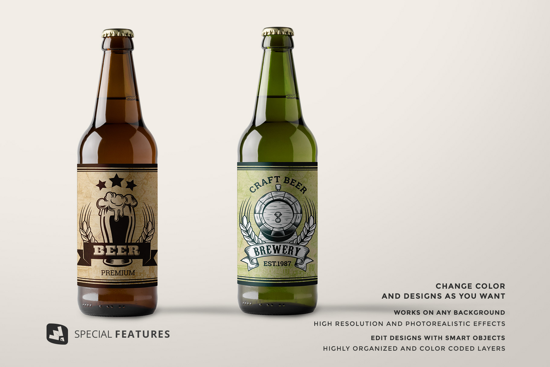 special features of the craft beer bottle packaging mockup