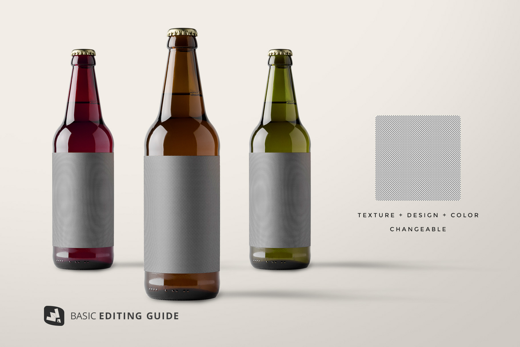 editability of the craft beer bottle packaging mockup