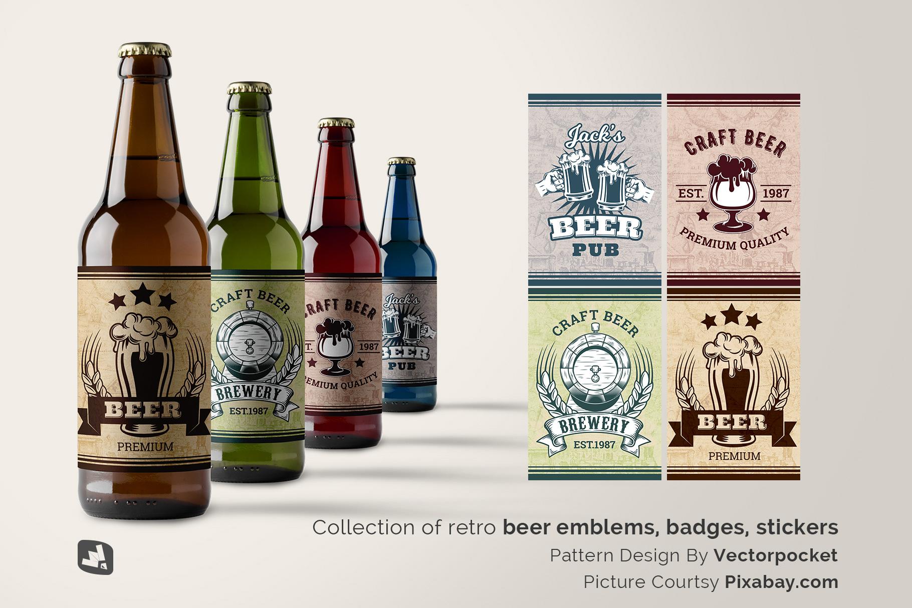 designer's credit of the craft beer bottle packaging mockup