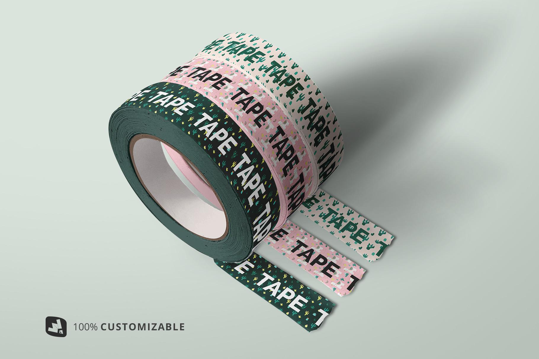 customization of the themed washi tape roll mockup