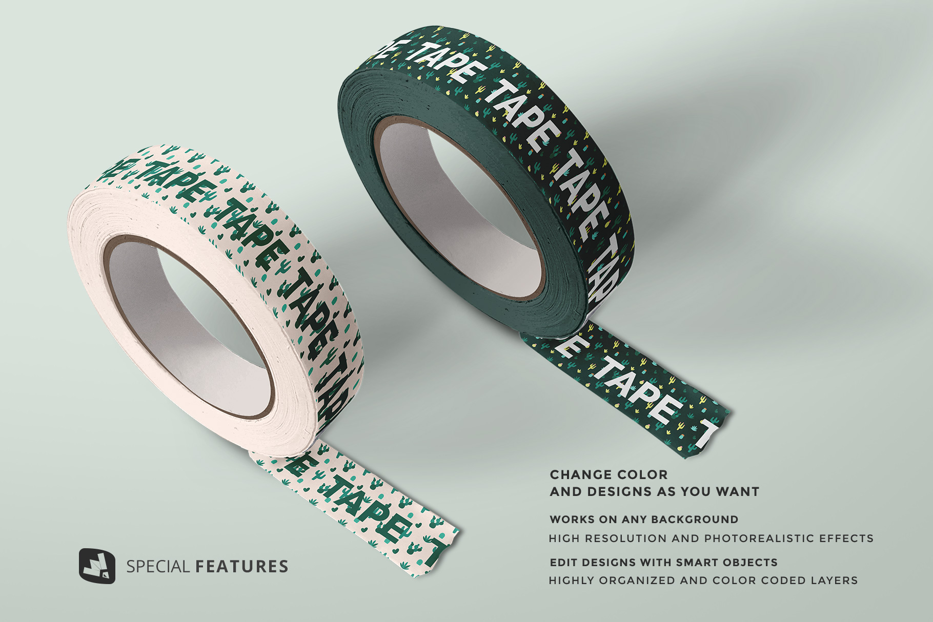 special features of the themed washi tape roll mockup