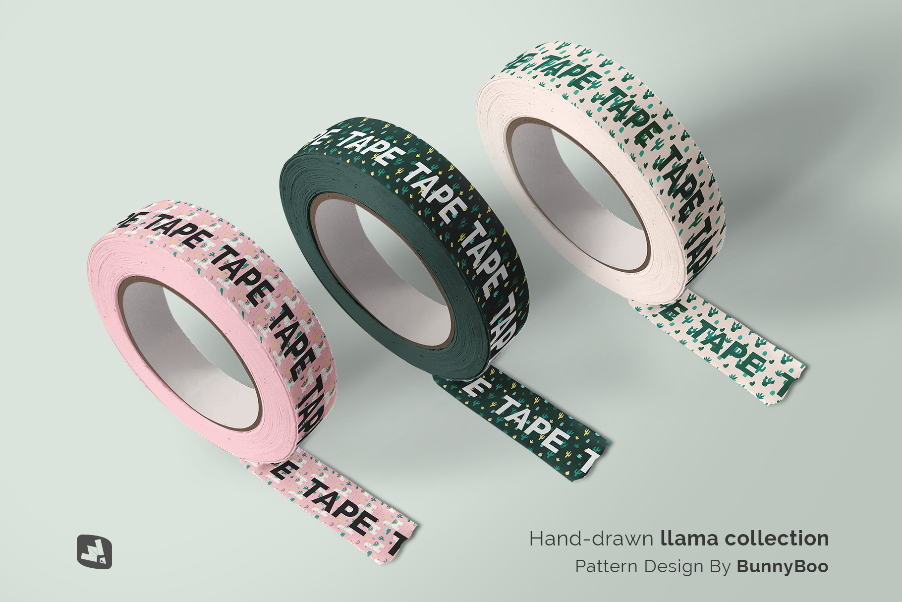 designer's credit of the themed washi tape roll mockup