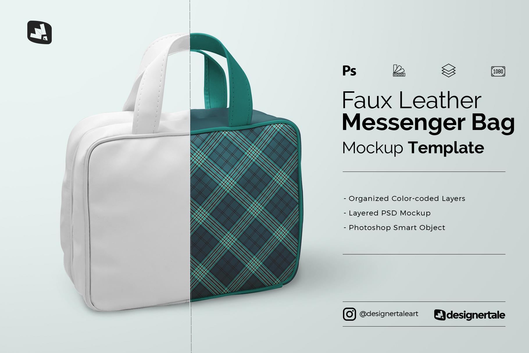 faux leather messenger bag mockup