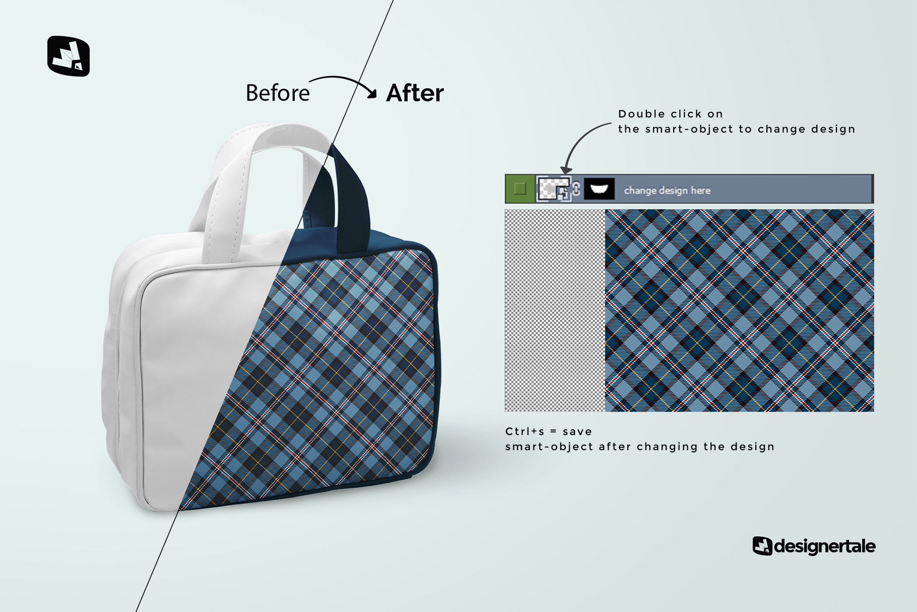 how to change design of the faux leather messenger bag mockup