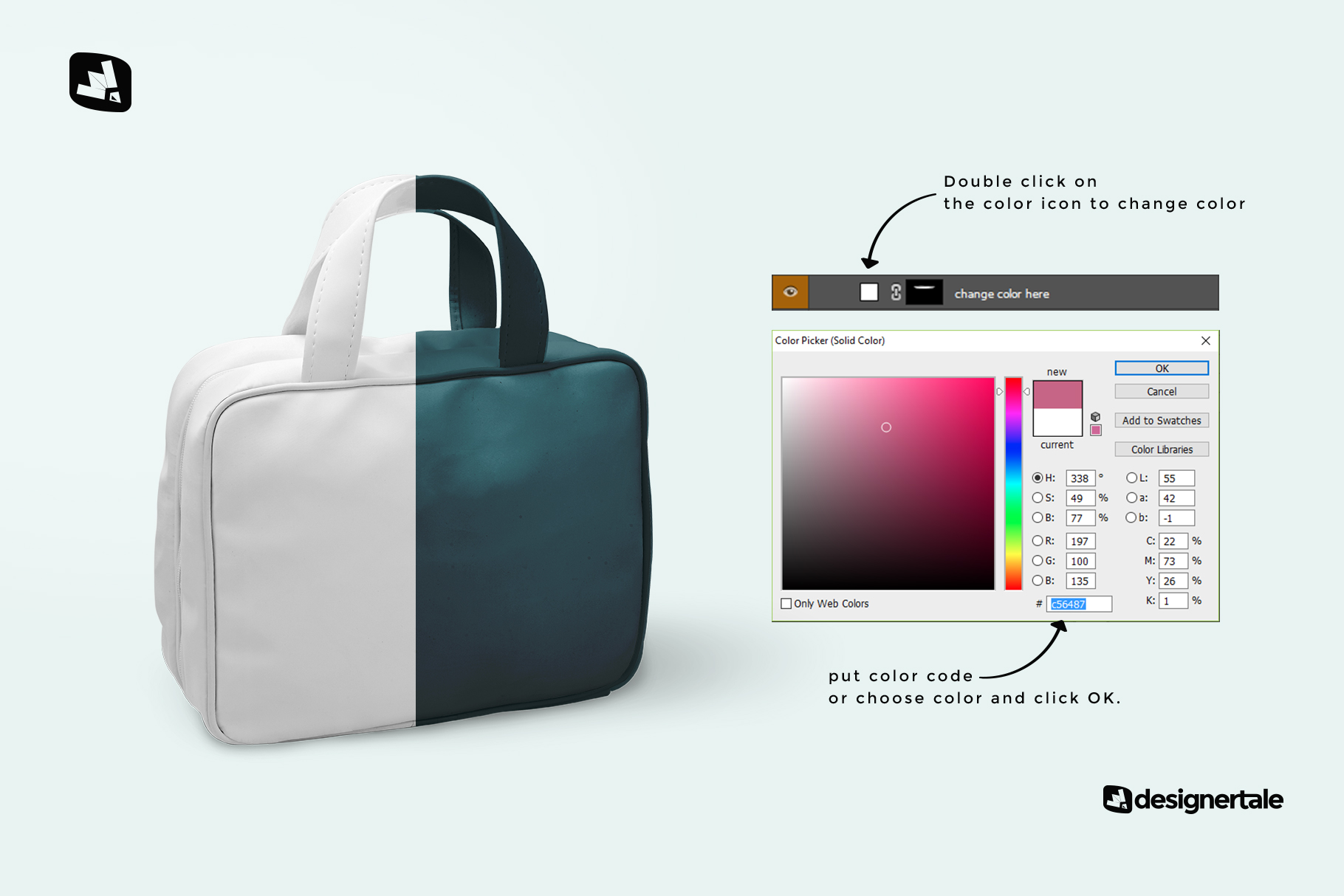 how to change color of the faux leather messenger bag mockup