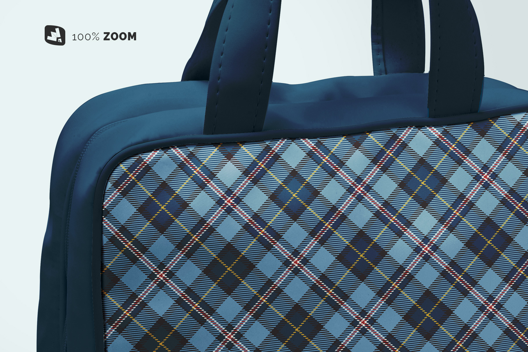 zoomed in image of the faux leather messenger bag mockup