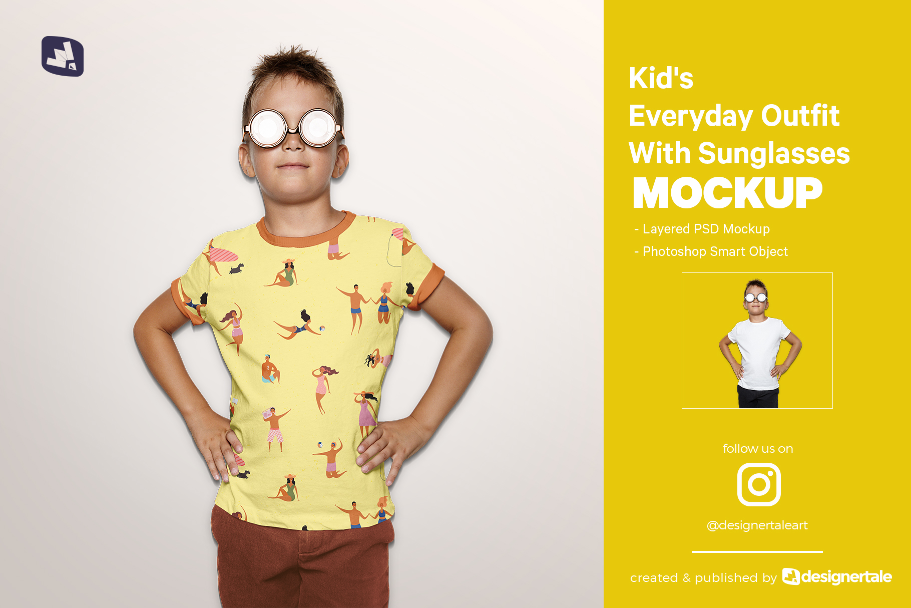 kid's everyday outfit mockup with sunglasses