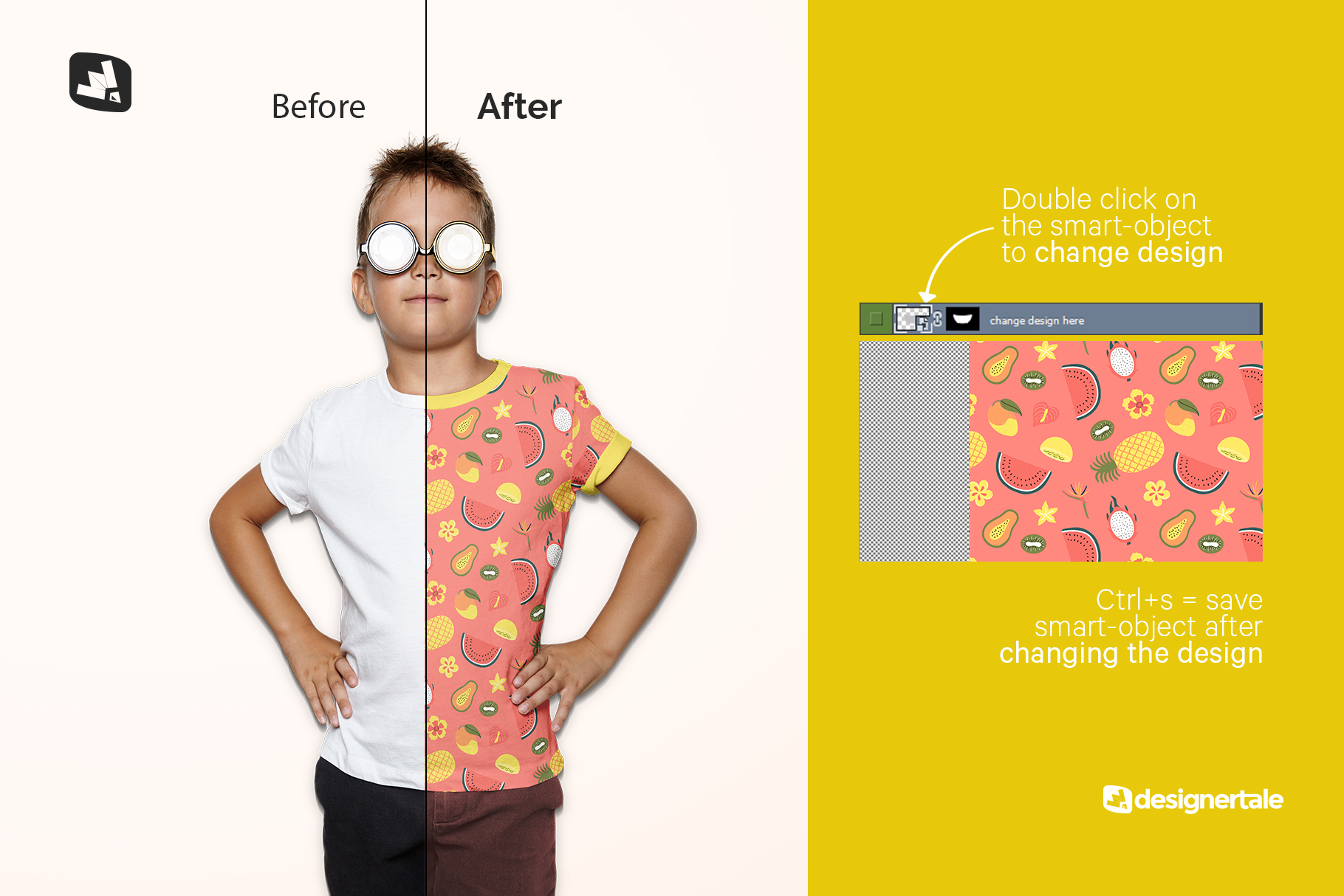 how to change design of the kid's everyday outfit mockup with sunglasses