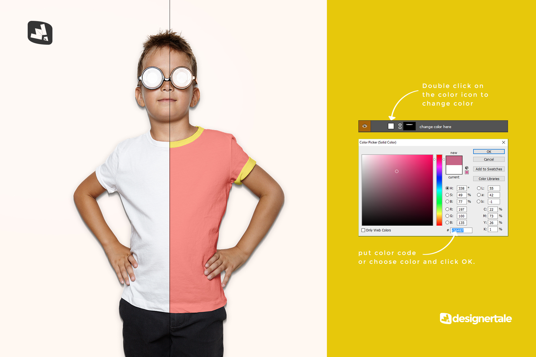 how to change color of the kid's everyday outfit mockup with sunglasses
