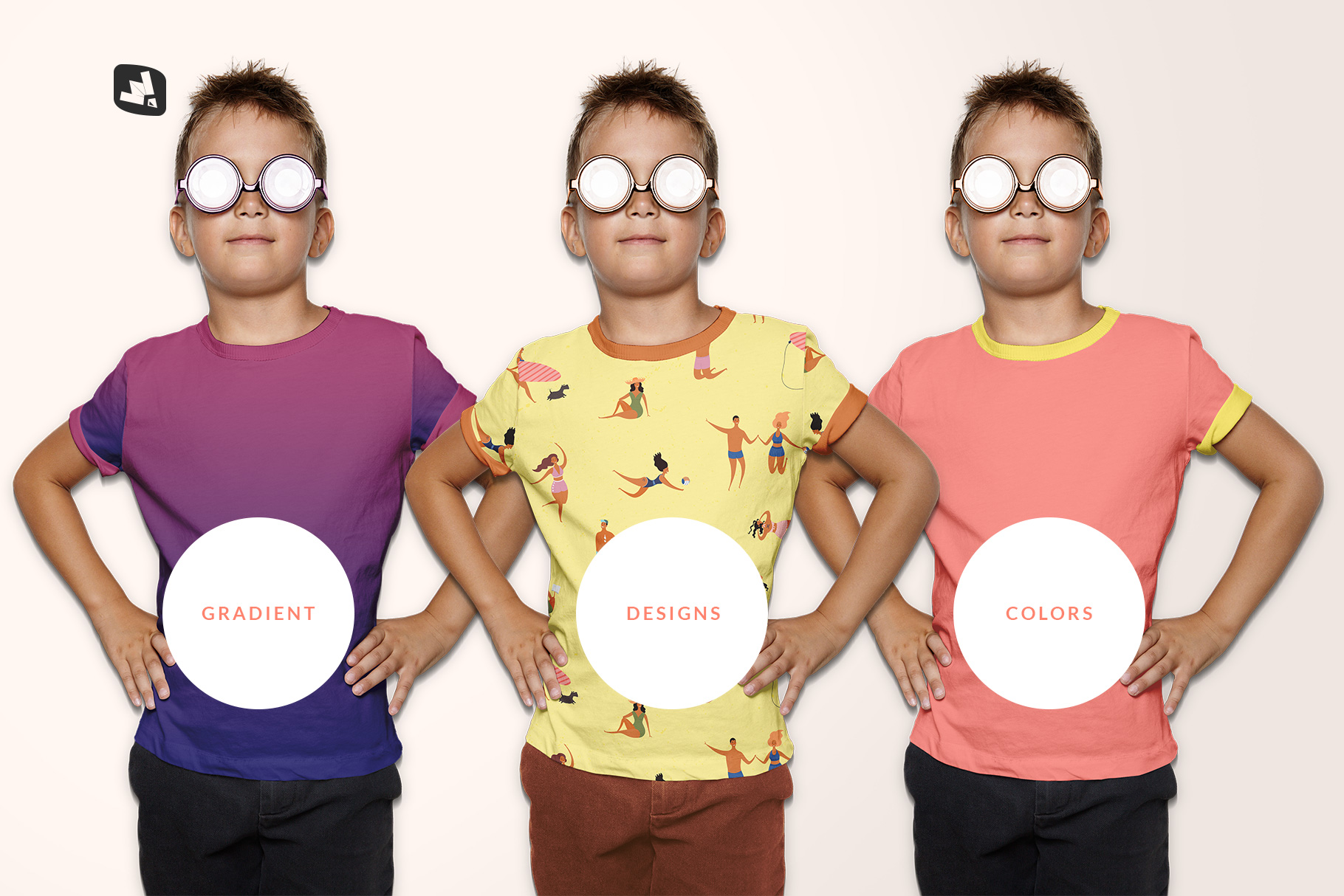 types of the kid's everyday outfit mockup with sunglasses