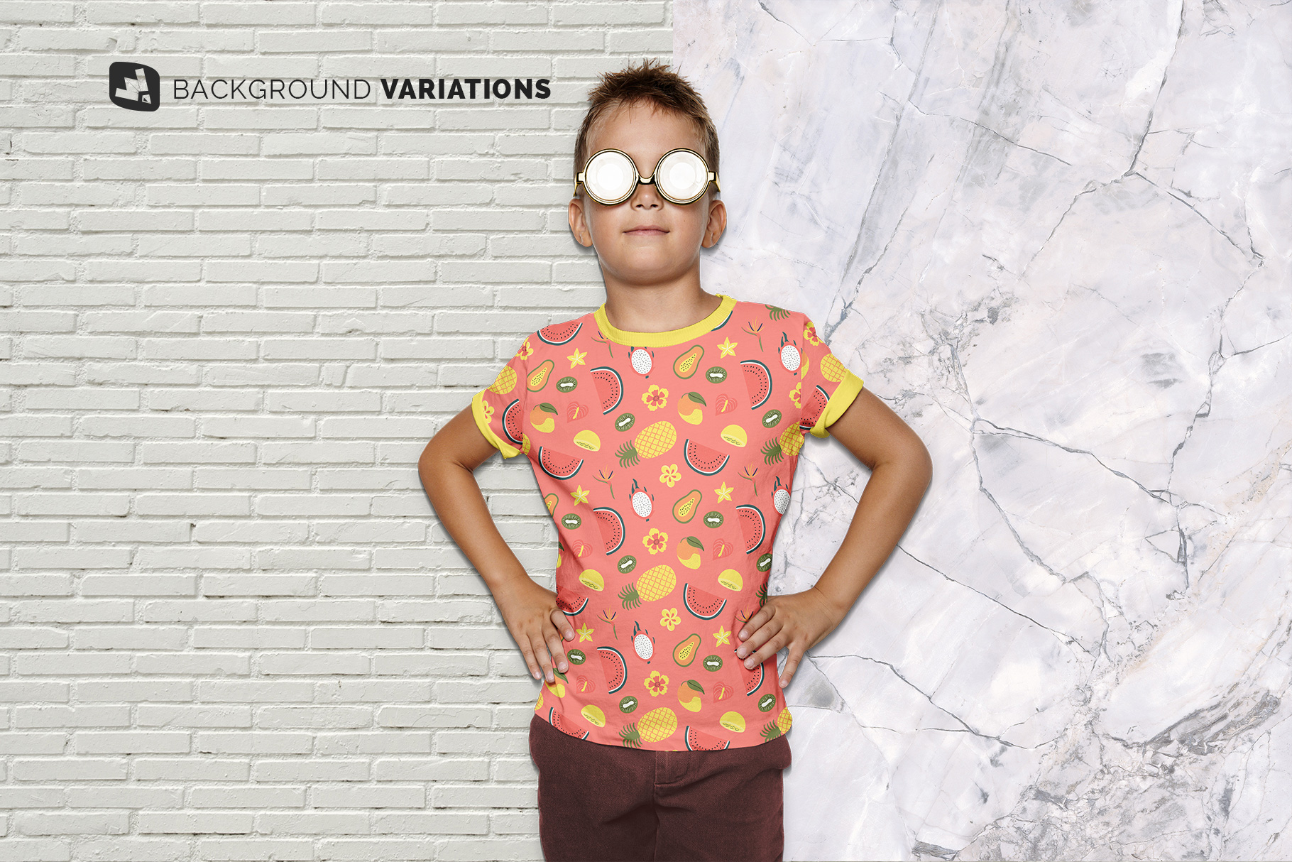 background options of the kid's everyday outfit mockup with sunglasses