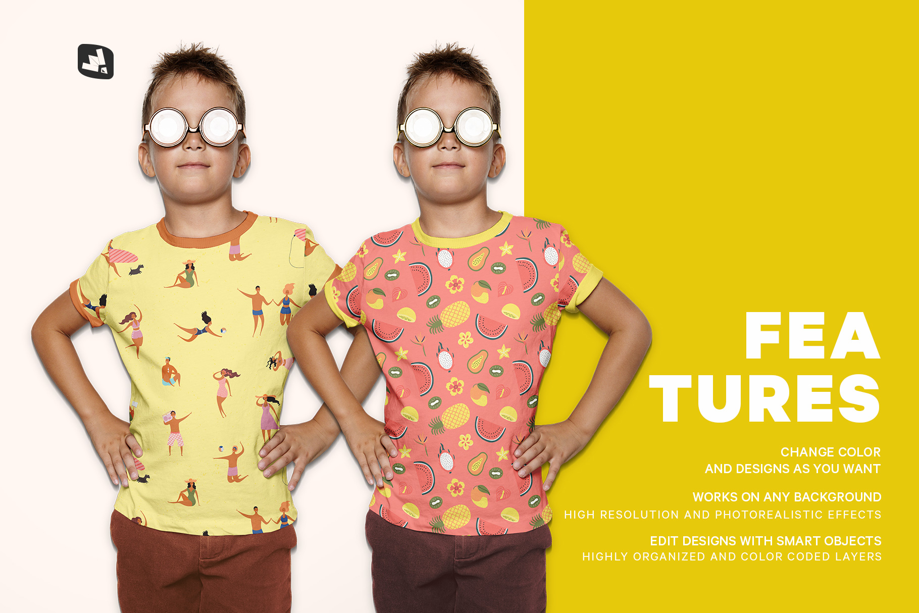 features of the kid's everyday outfit mockup with sunglasses