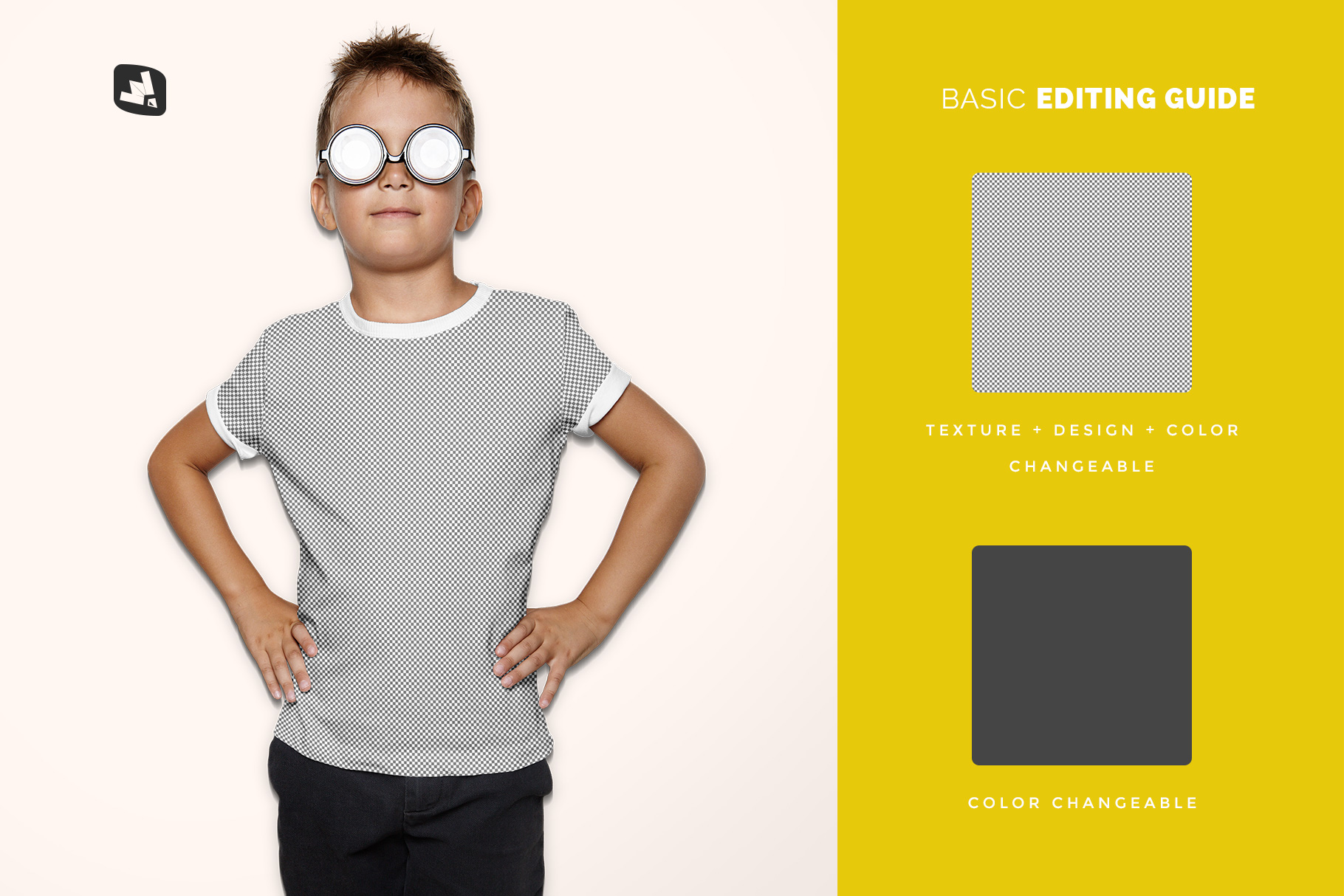 editability of the kid's everyday outfit mockup with sunglasses