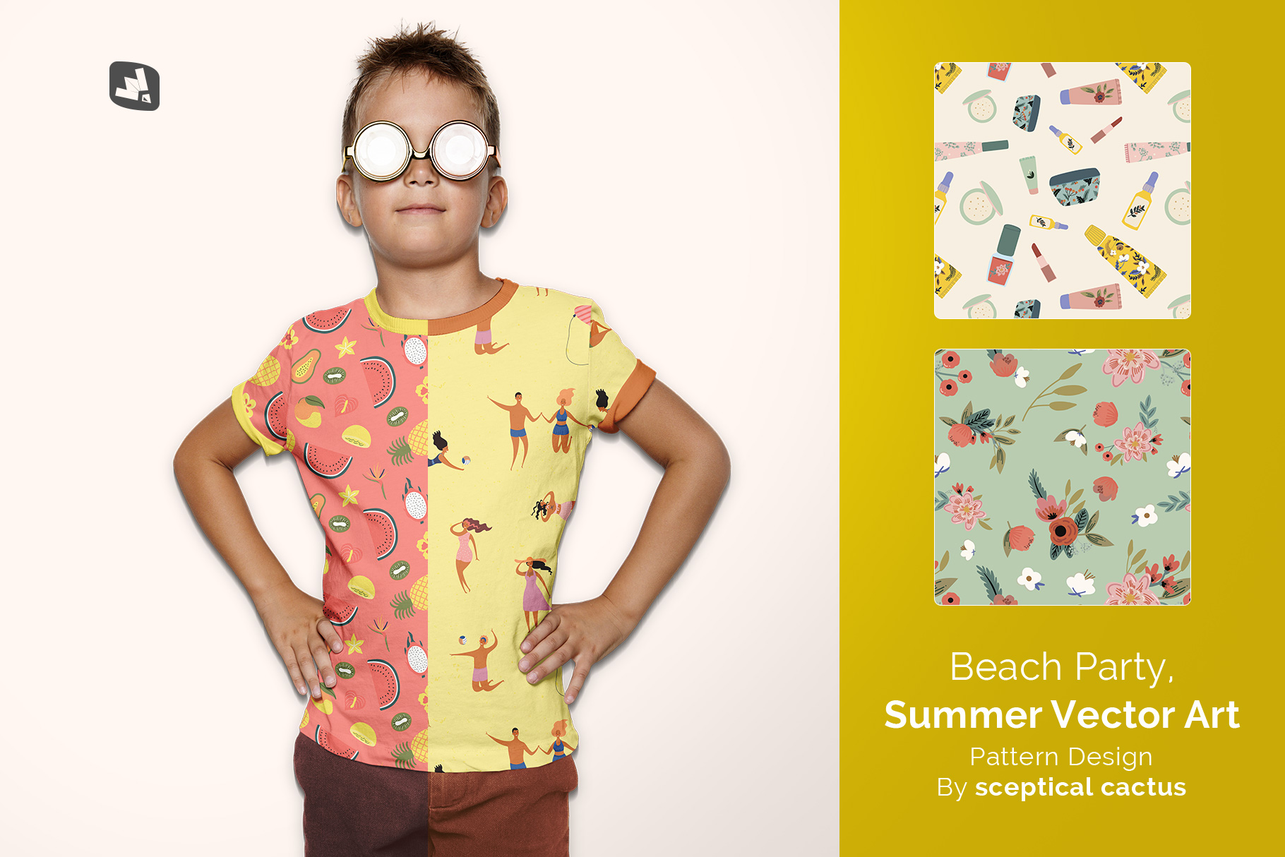 designer's credit of the kid's everyday outfit mockup with sunglasses