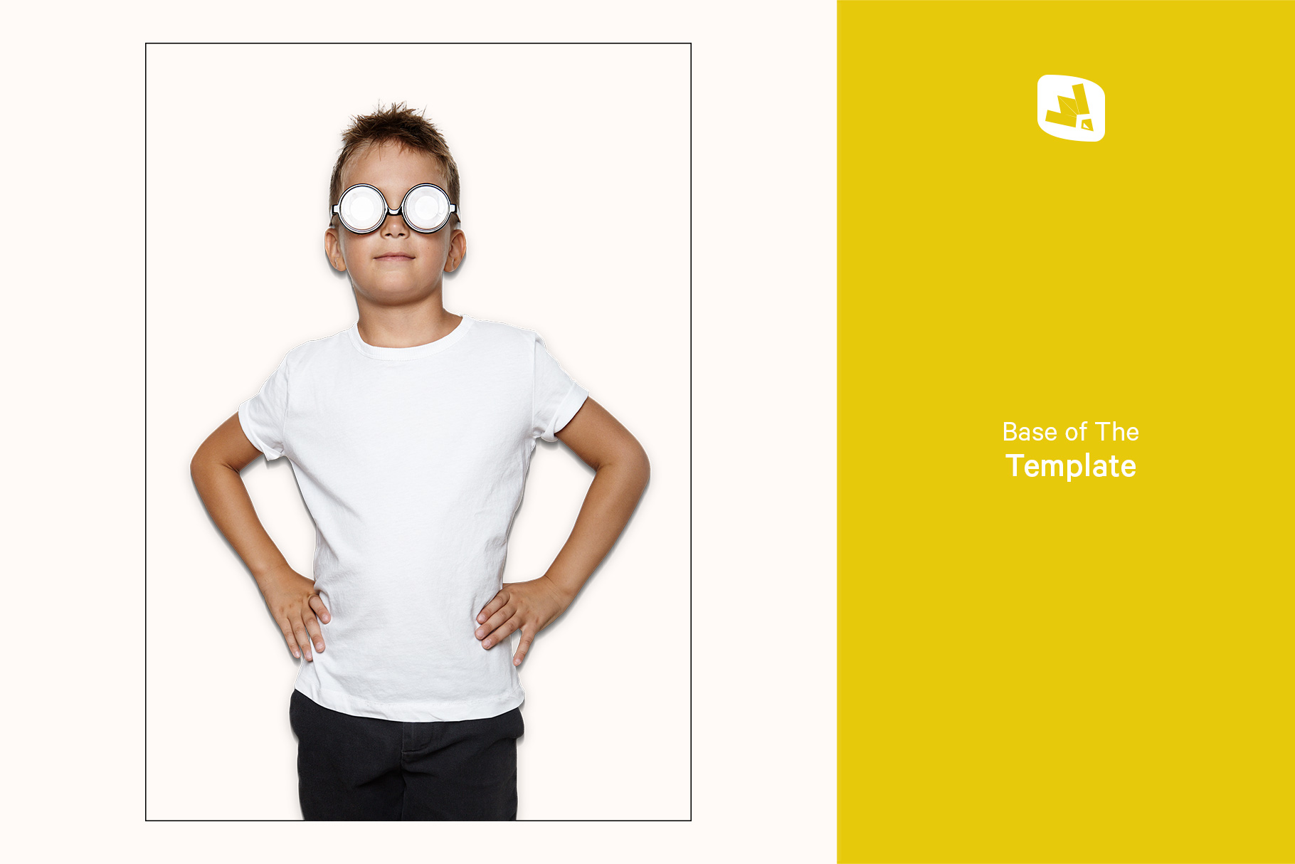 base image of the kid's everyday outfit mockup with sunglasses