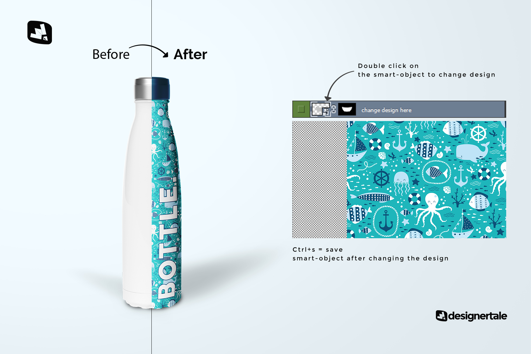how to change design of the steel thermos bottle mockup