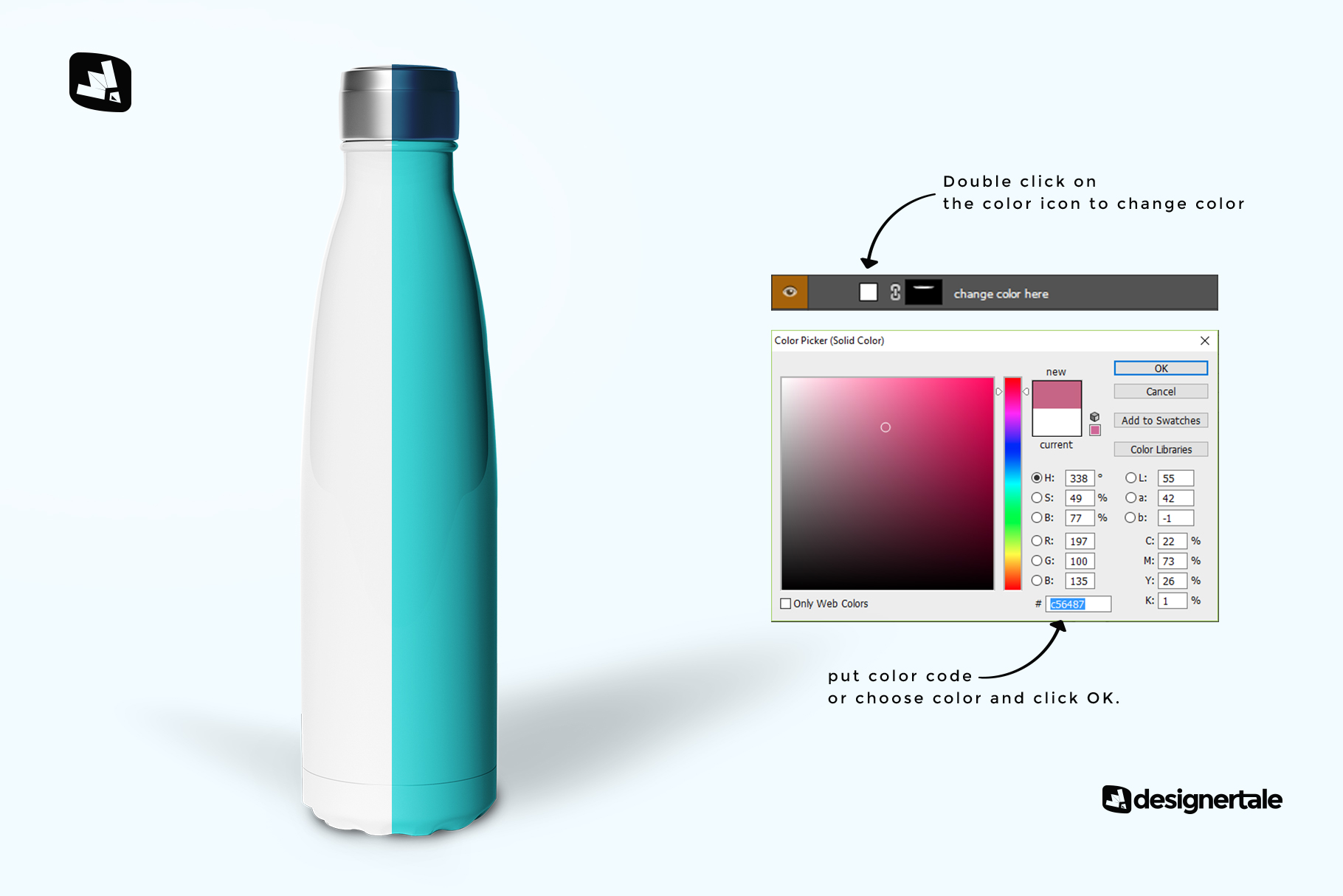 how to change color of the steel thermos bottle mockup