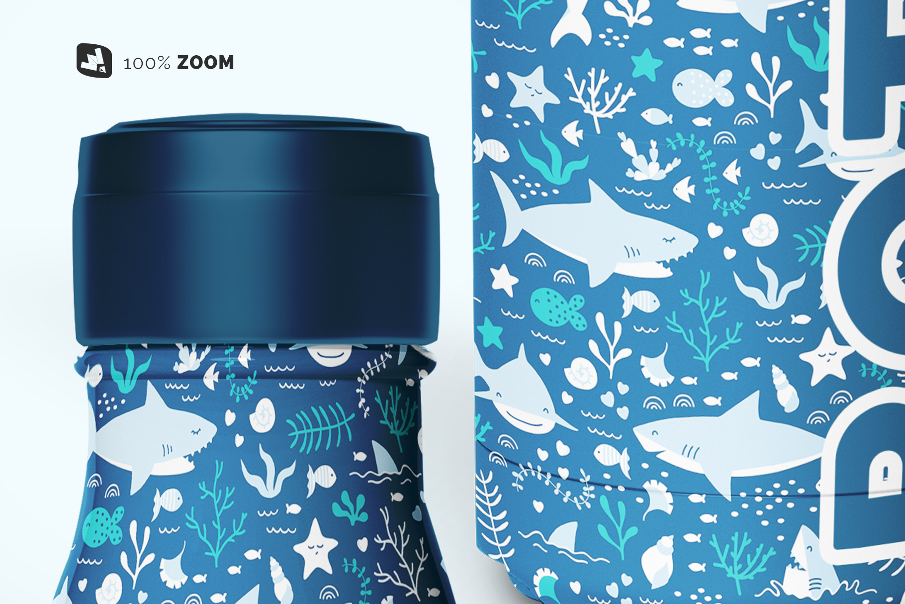 zoomed in image of the steel thermos bottle mockup