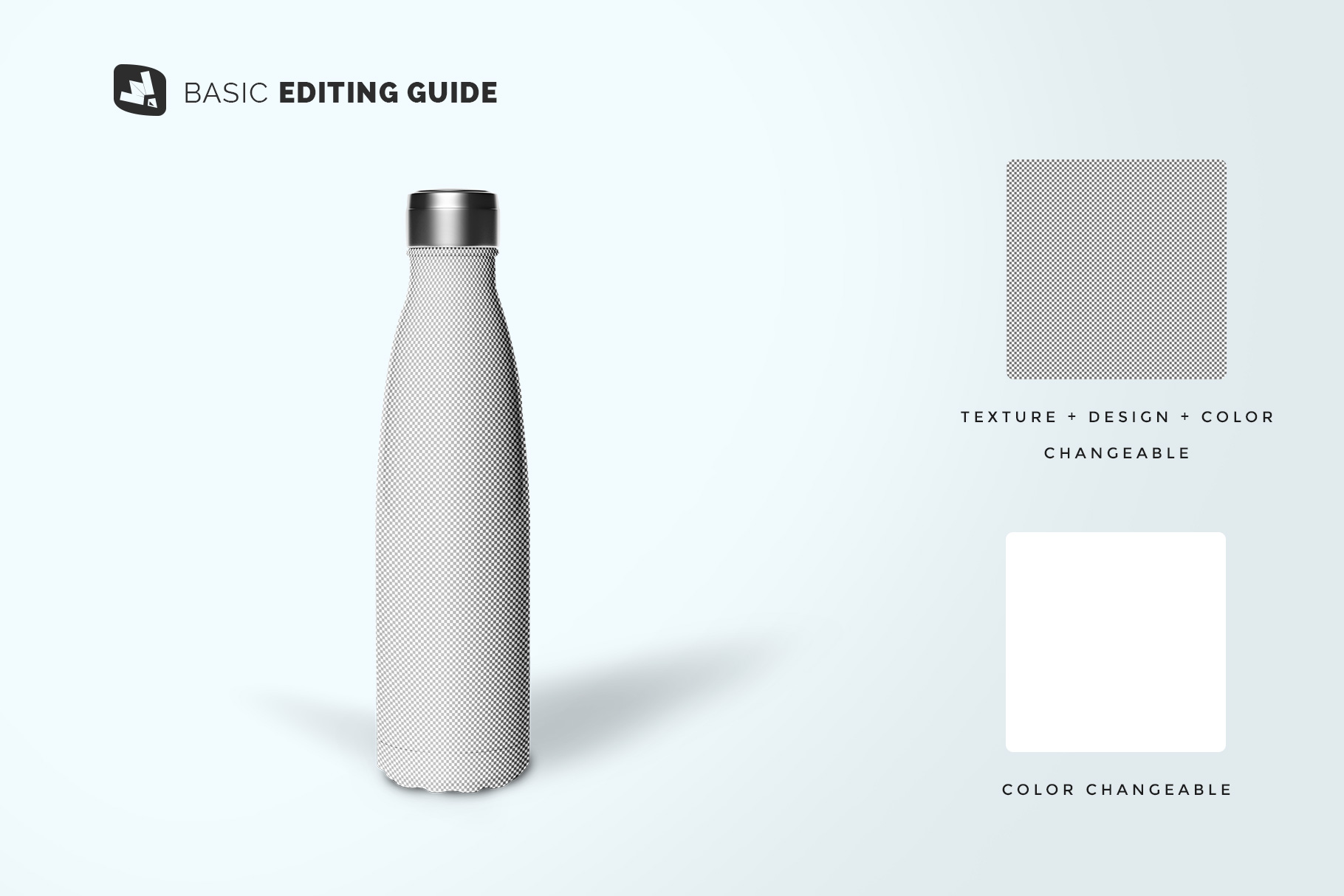 editability of the steel thermos bottle mockup