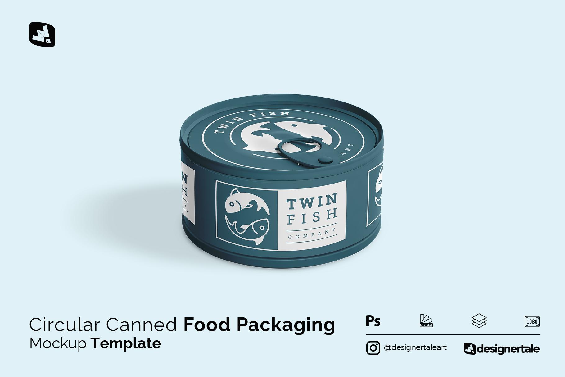 circular can food packaging mockup