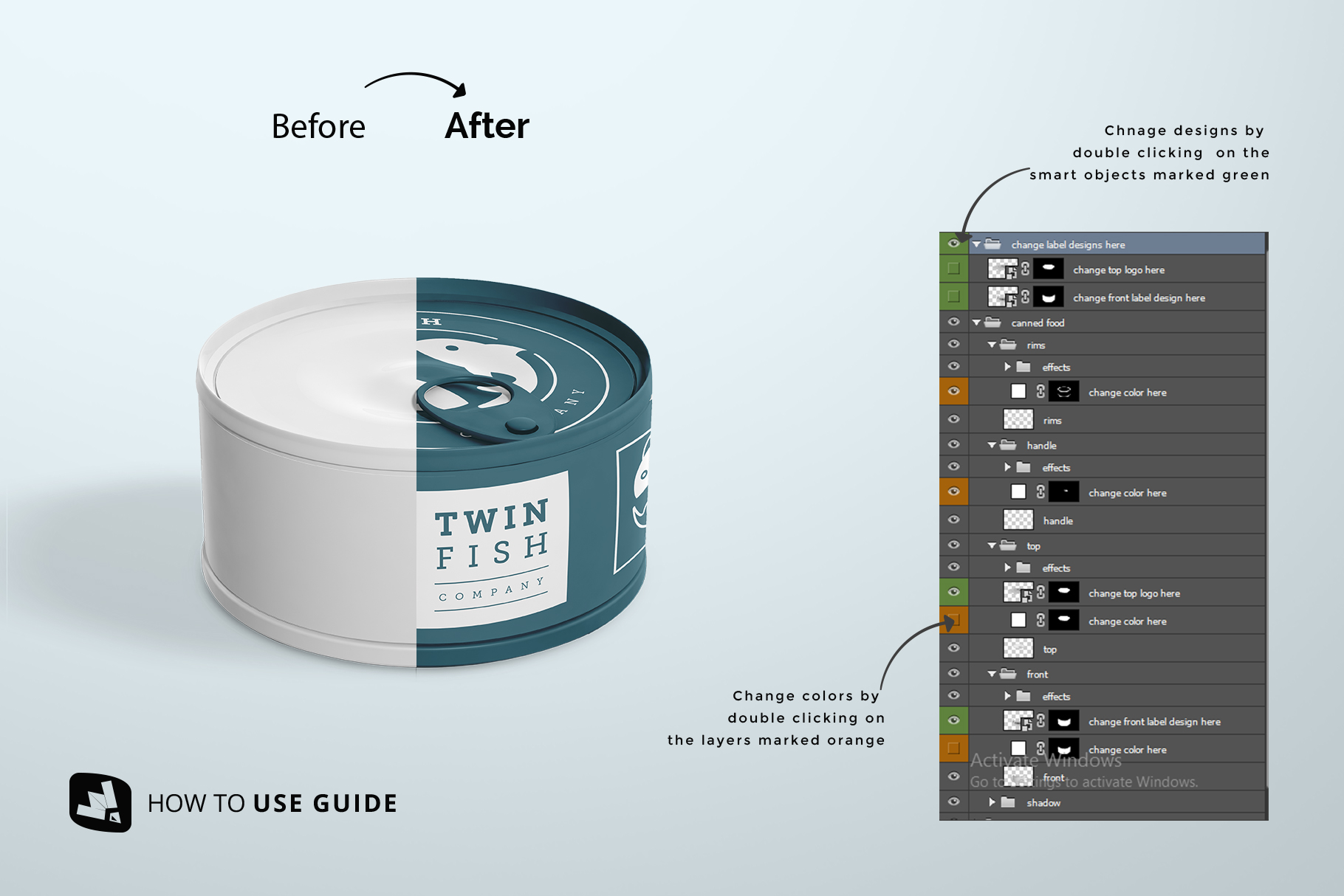 how to use guide of the circular canned food packaging mockup