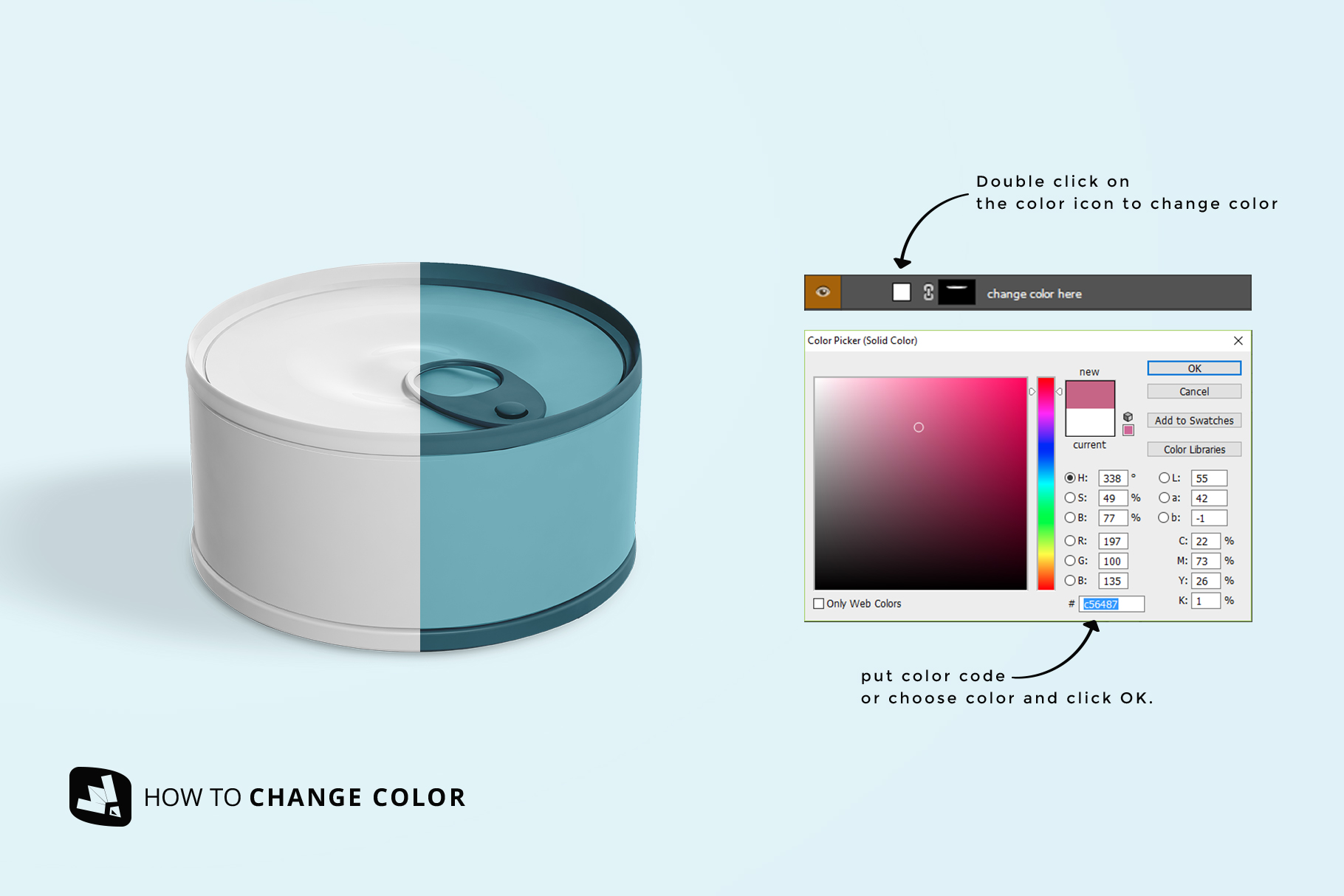 how to change color of the circular canned food packaging mockup