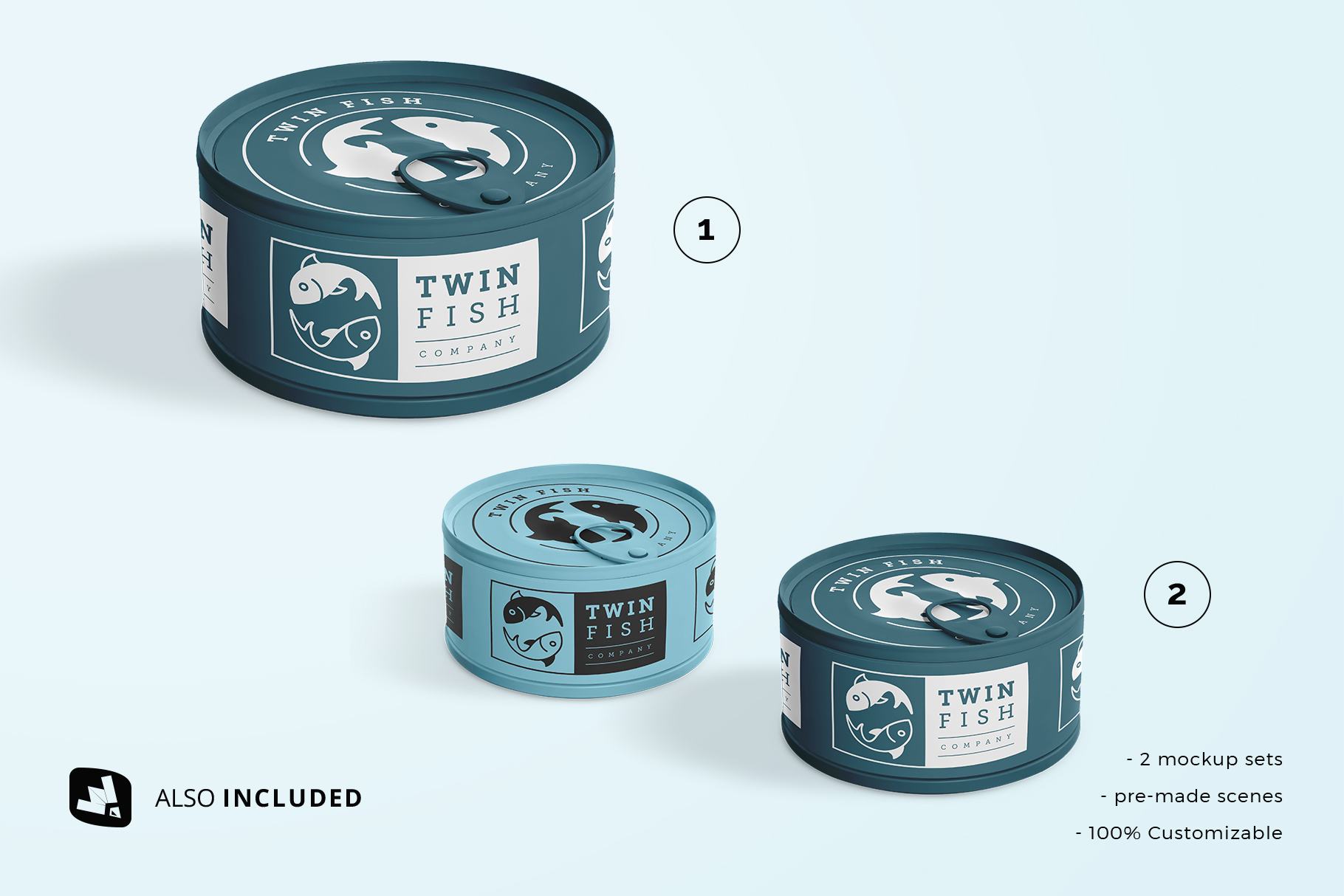 files included in the circular canned food packaging mockup
