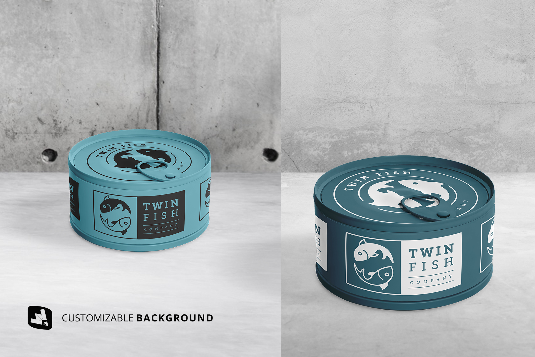 background options of the circular canned food packaging mockup