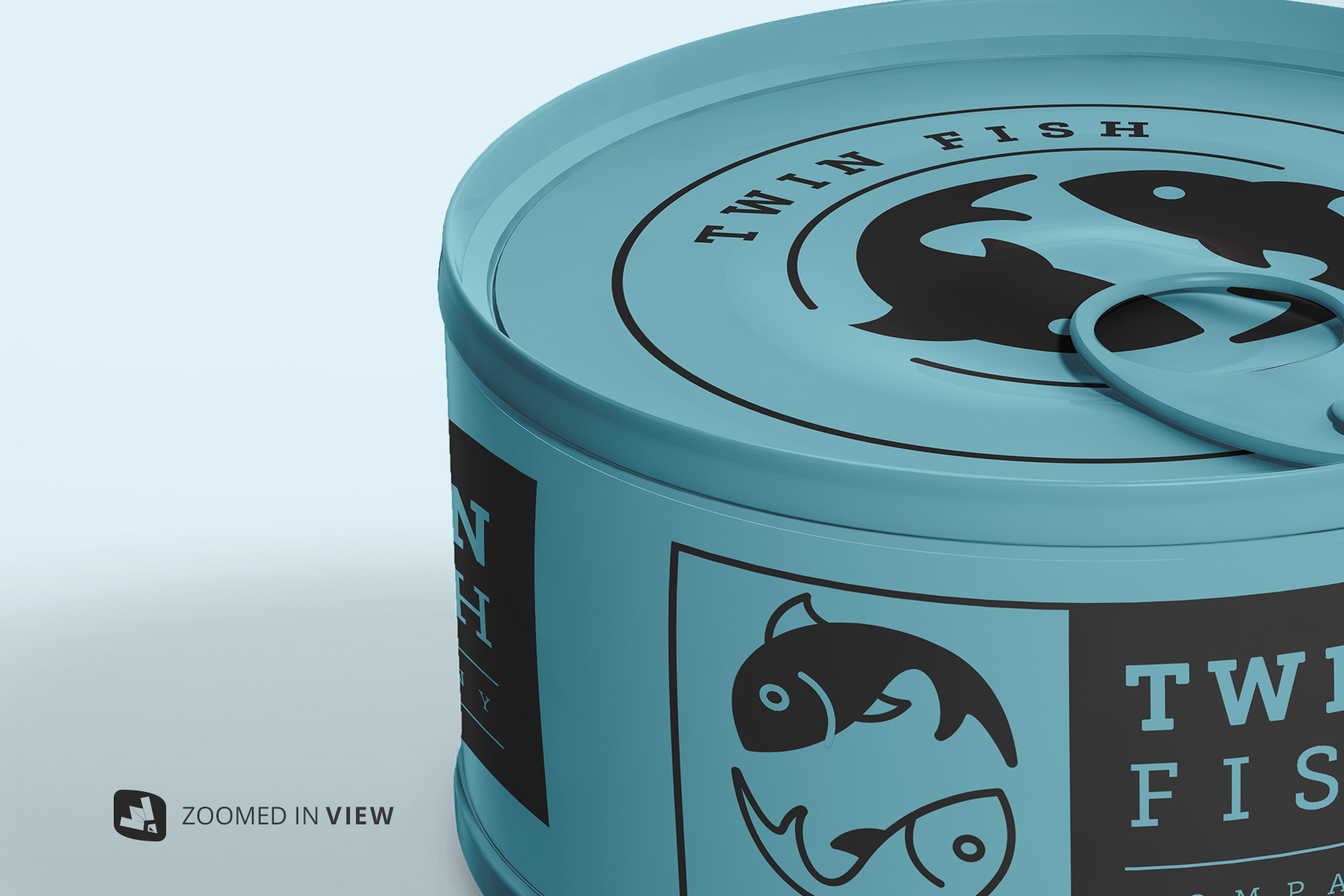 zoomed in image of the circular canned food packaging mockup