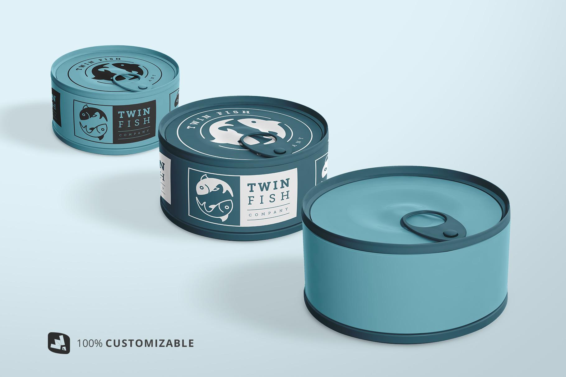 100% customizable circular canned food packaging mockup