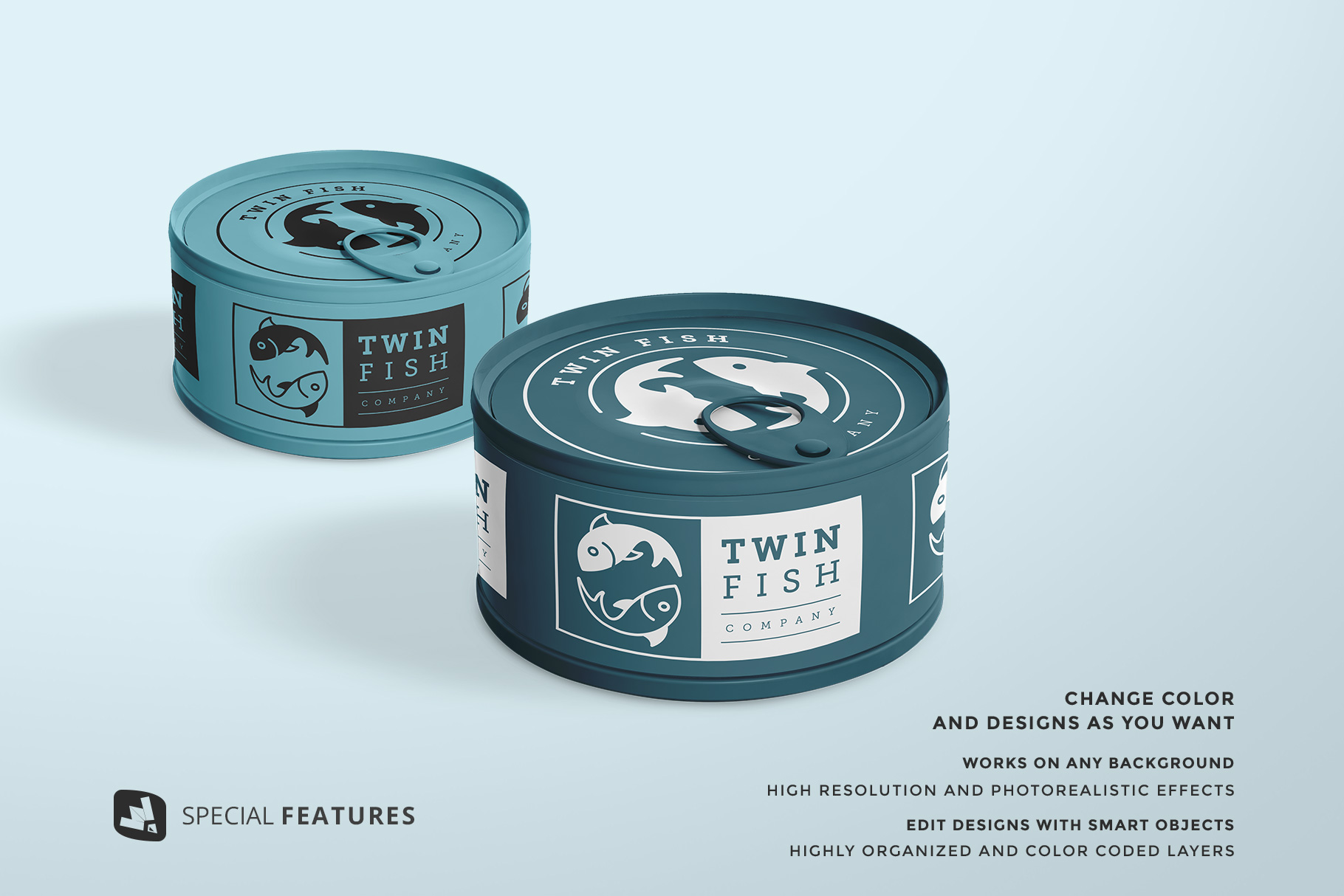 special features of the circular canned food packaging mockup