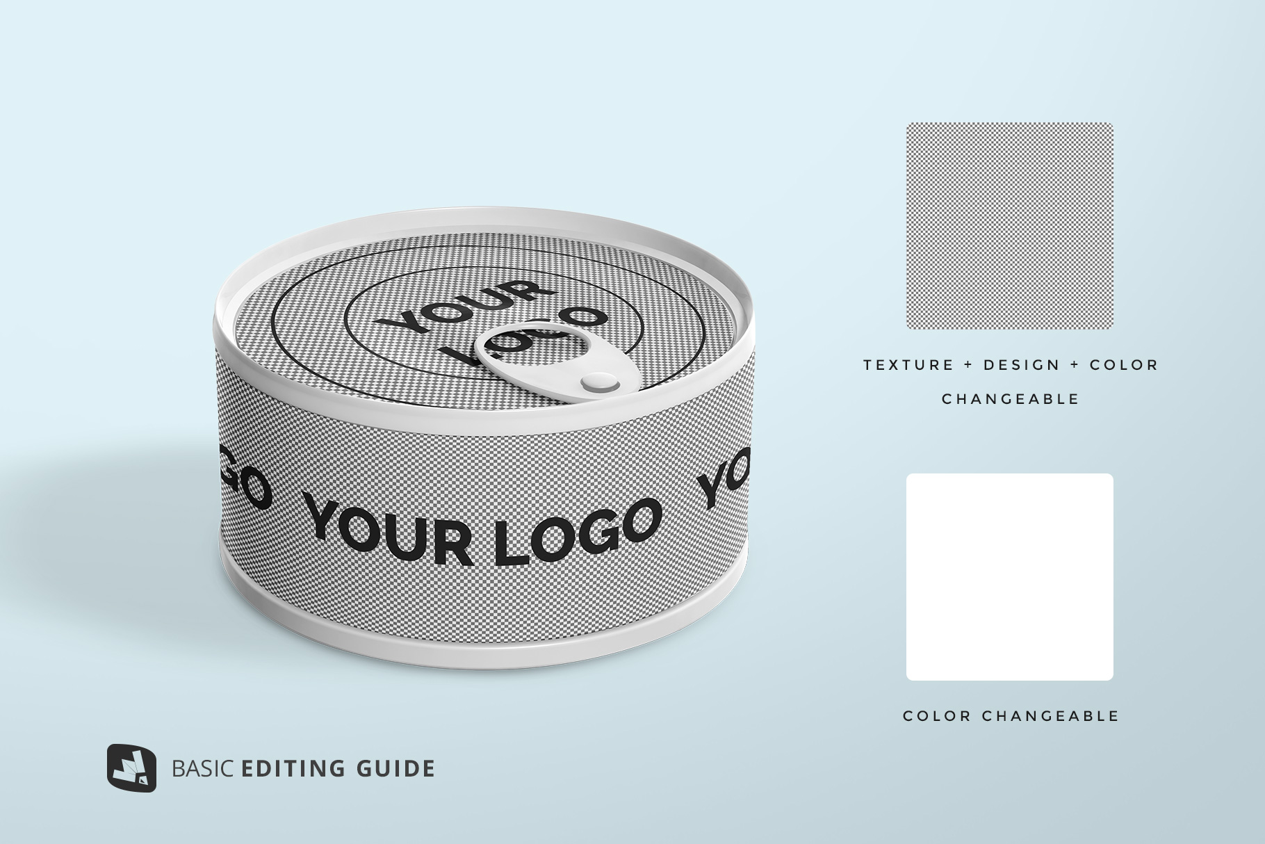 editability of the circular canned food packaging mockup
