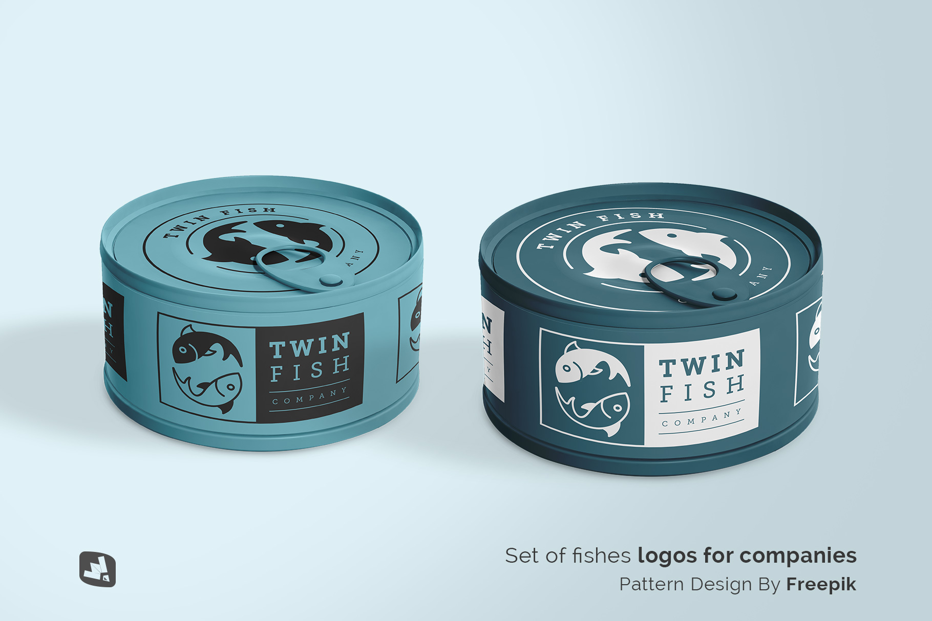 designer's credit of the circular canned food packaging mockup
