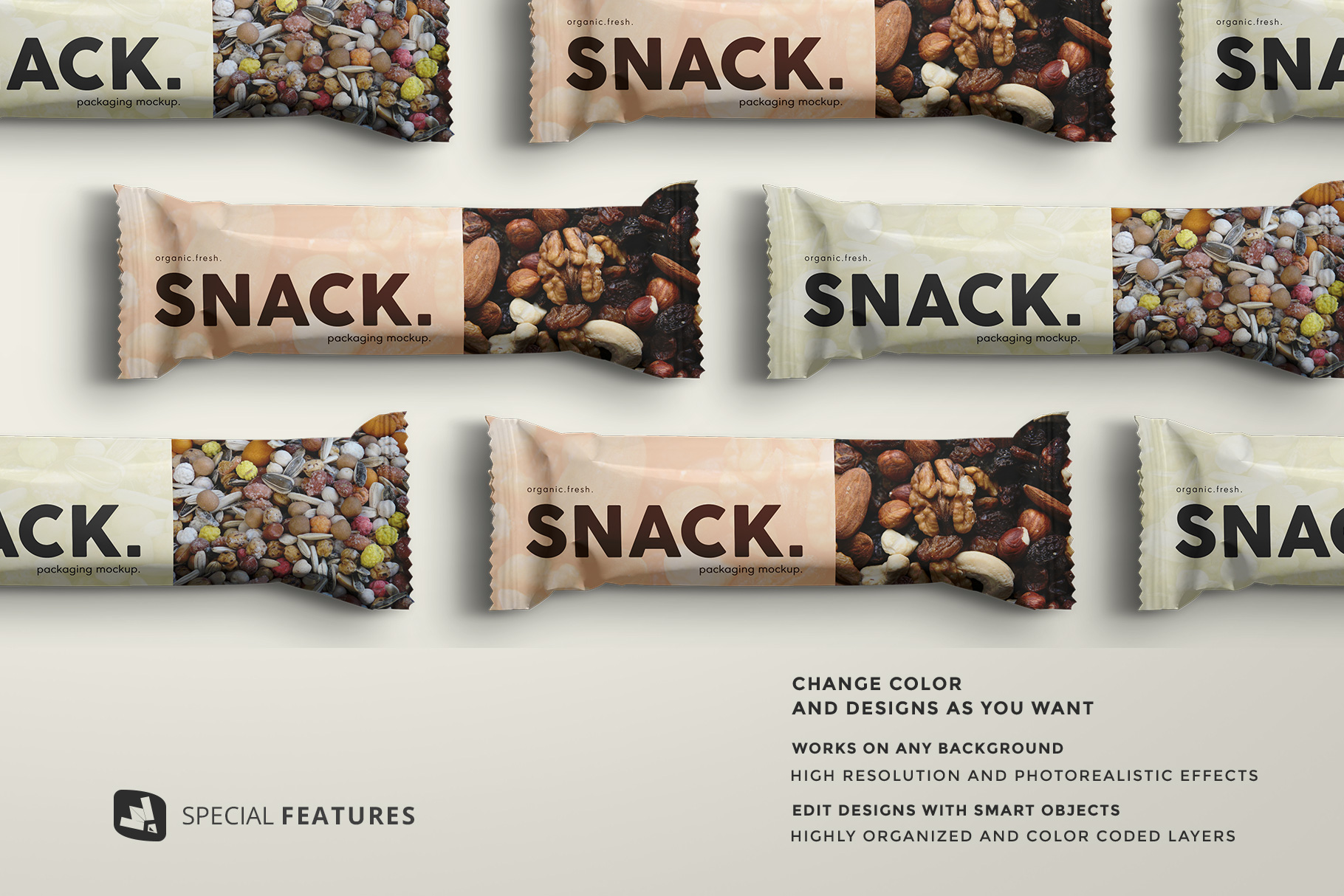 special features of the top view organic snack bar packaging mockup
