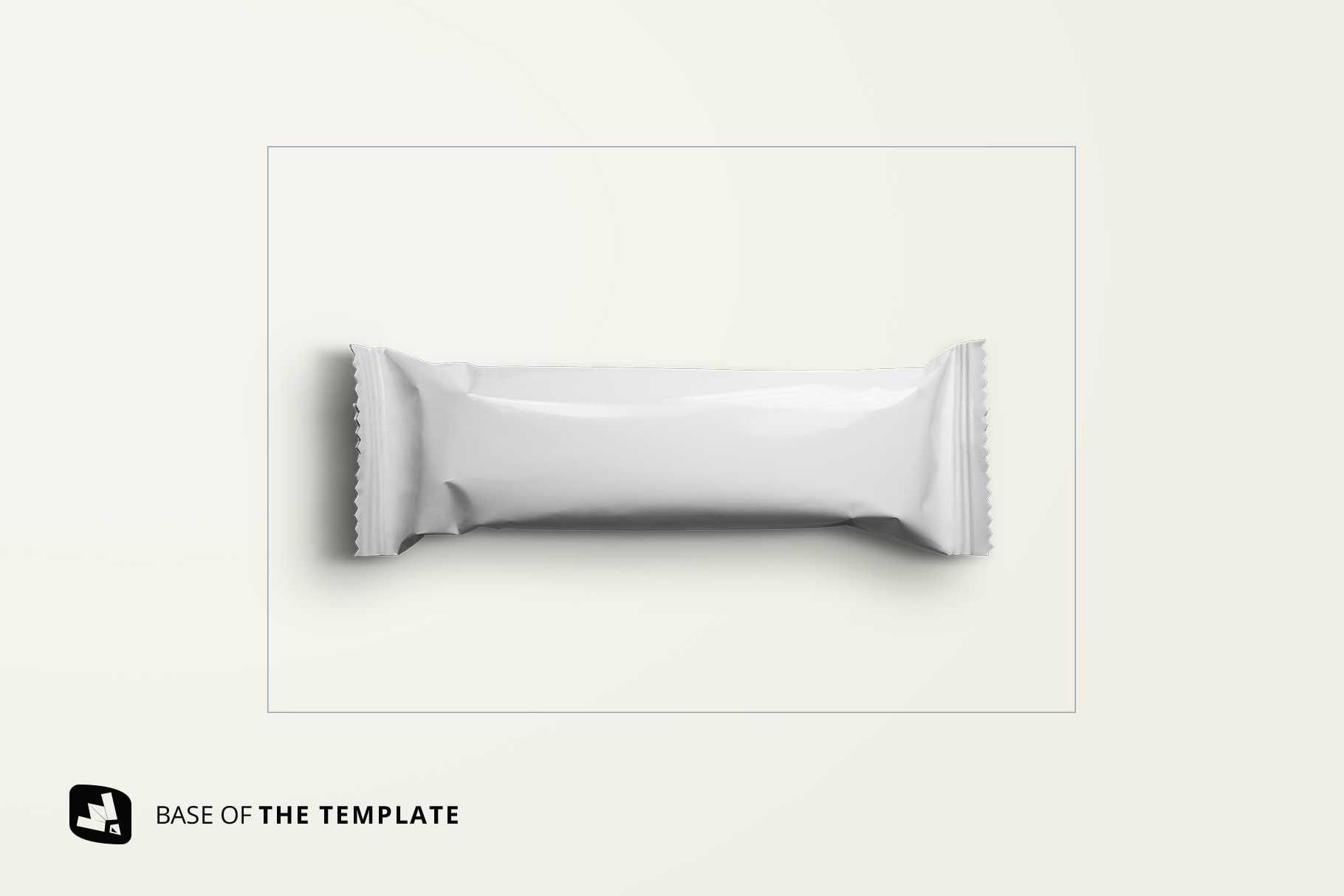 base image of the top view organic snack bar packaging mockup