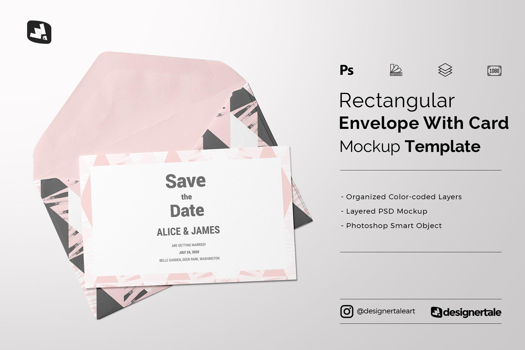rectangular envelope & card mockup