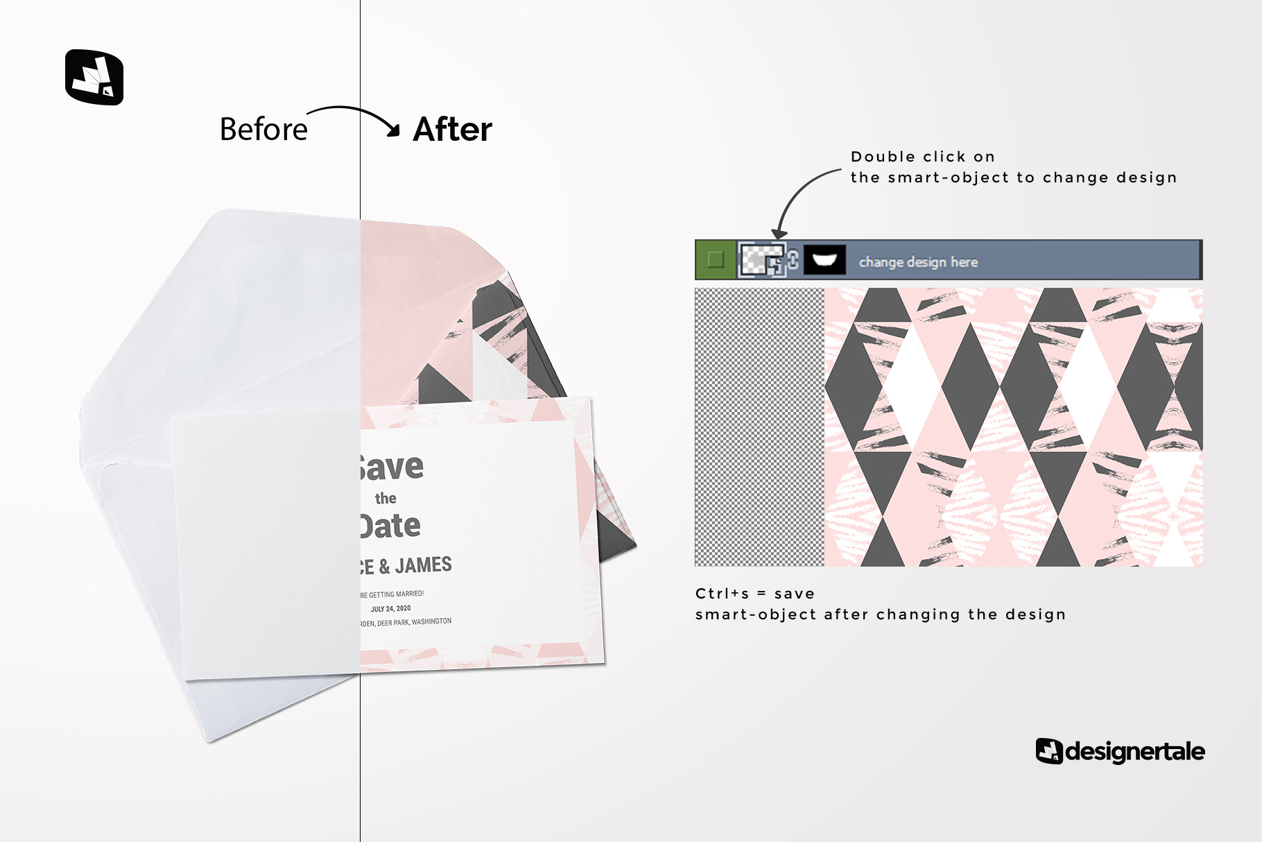 how to change design of the rectangular envelope with card mockup