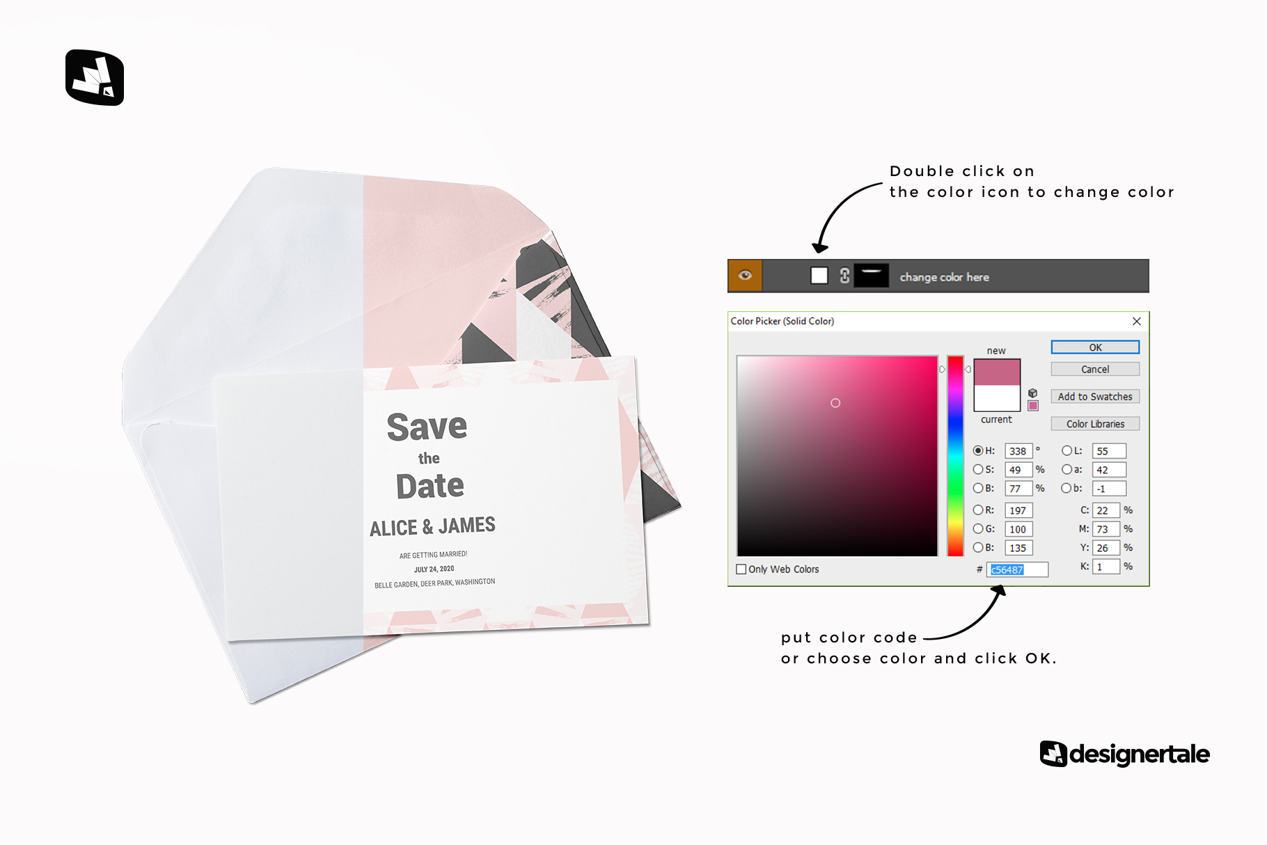 how to change color of the rectangular envelope with card mockup
