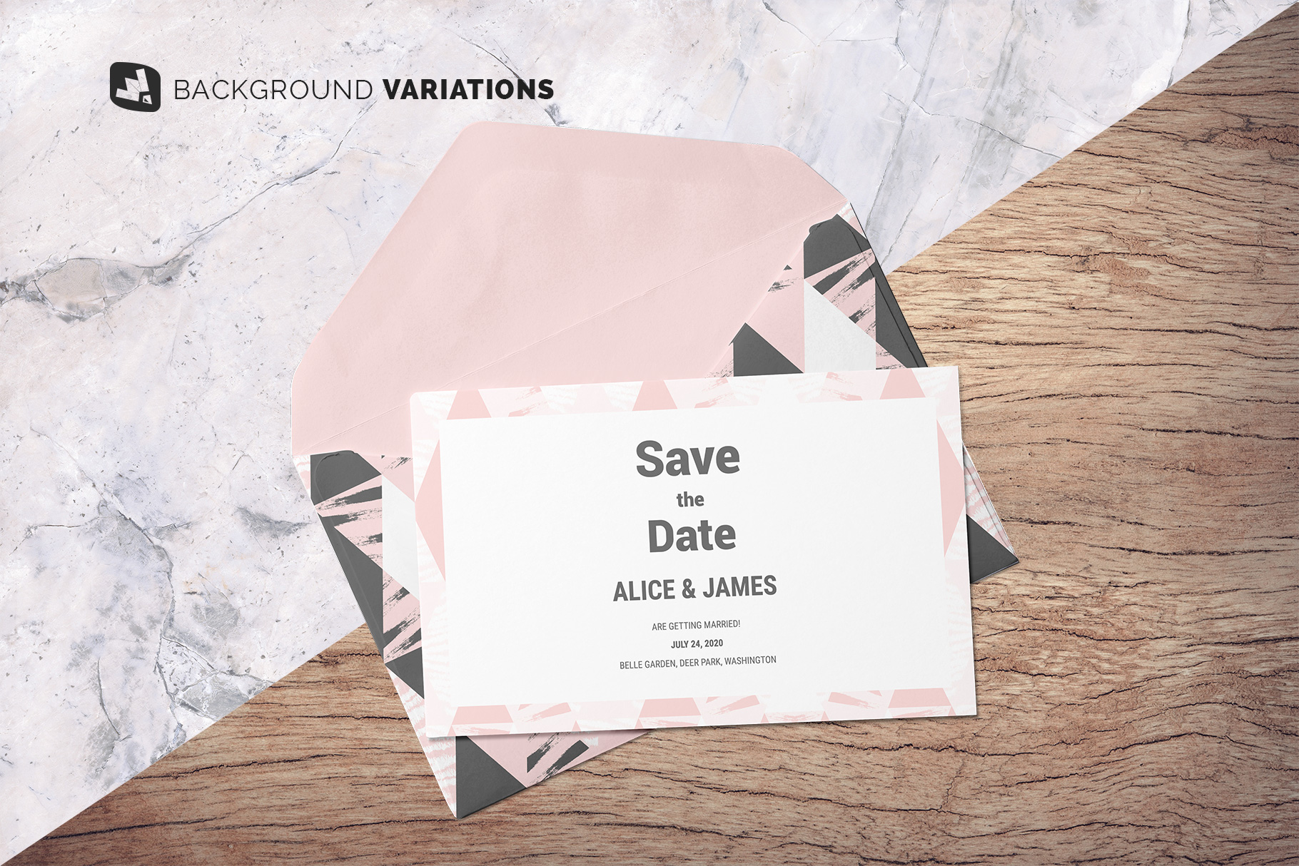 background options of the rectangular envelope with card mockup