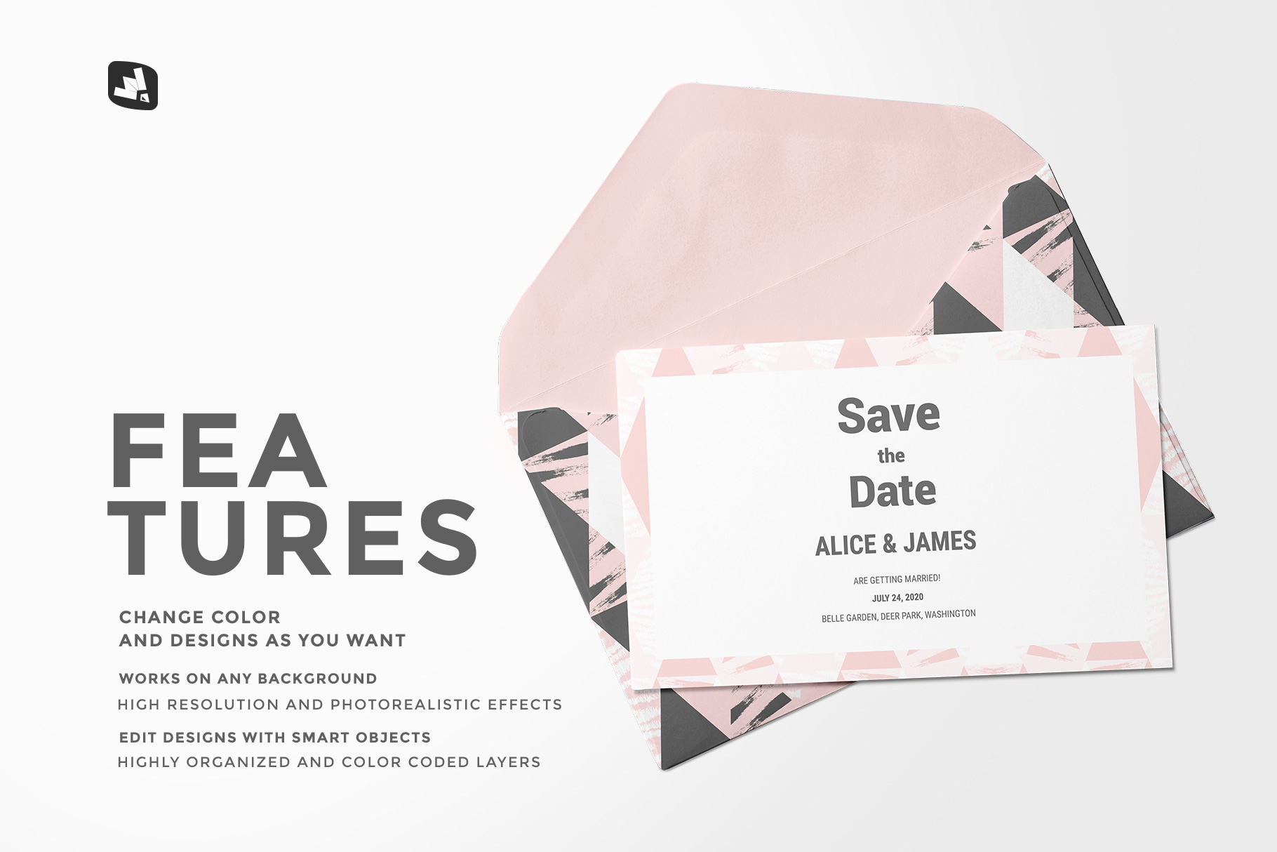 features of the rectangular envelope with card mockup