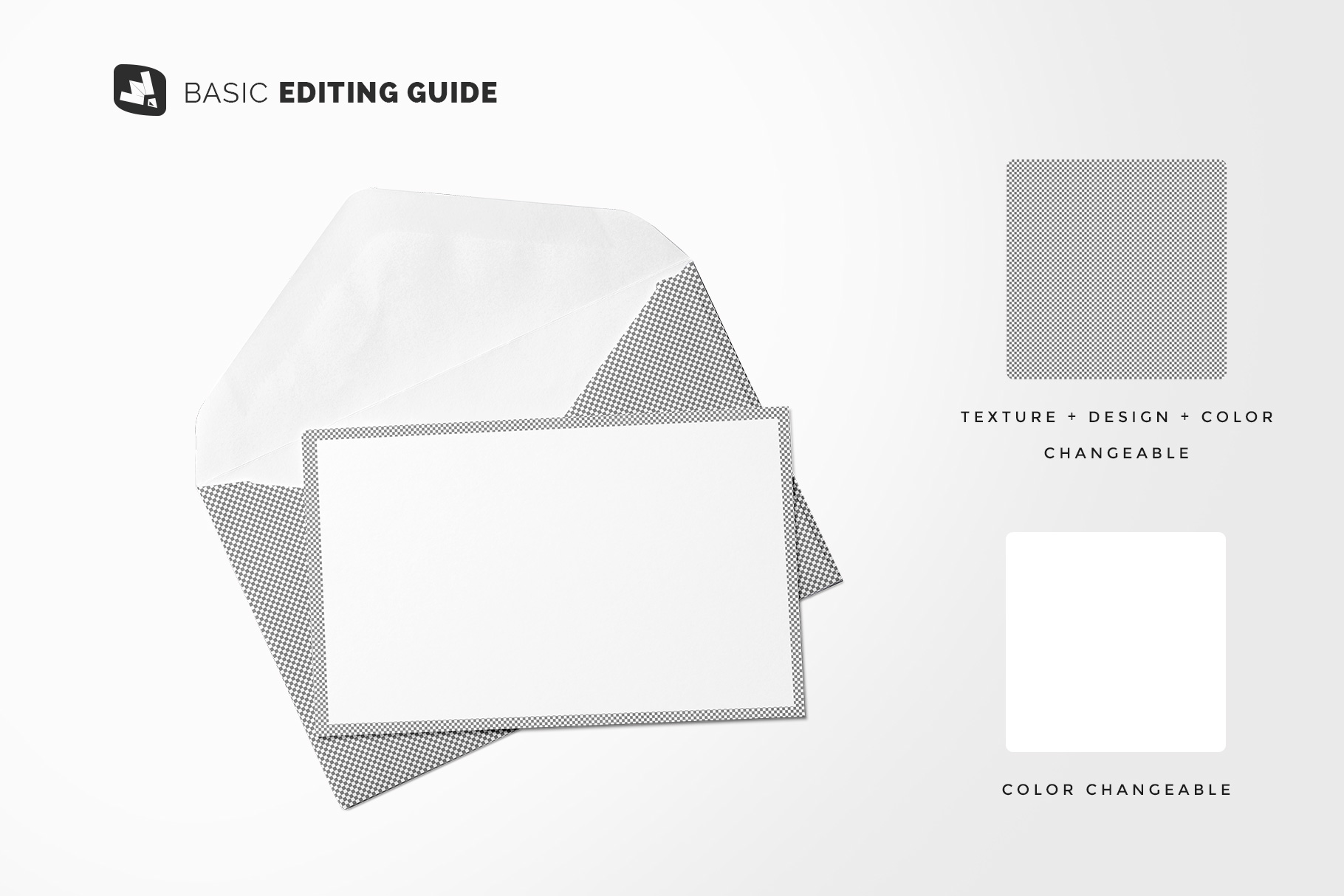 editability of the rectangular envelope with card mockup