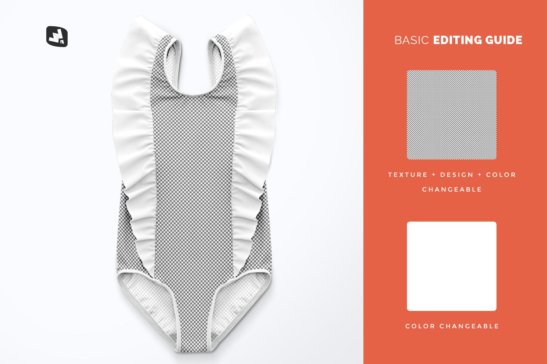 editability of the baby girl's ruffled swimsuit mockup