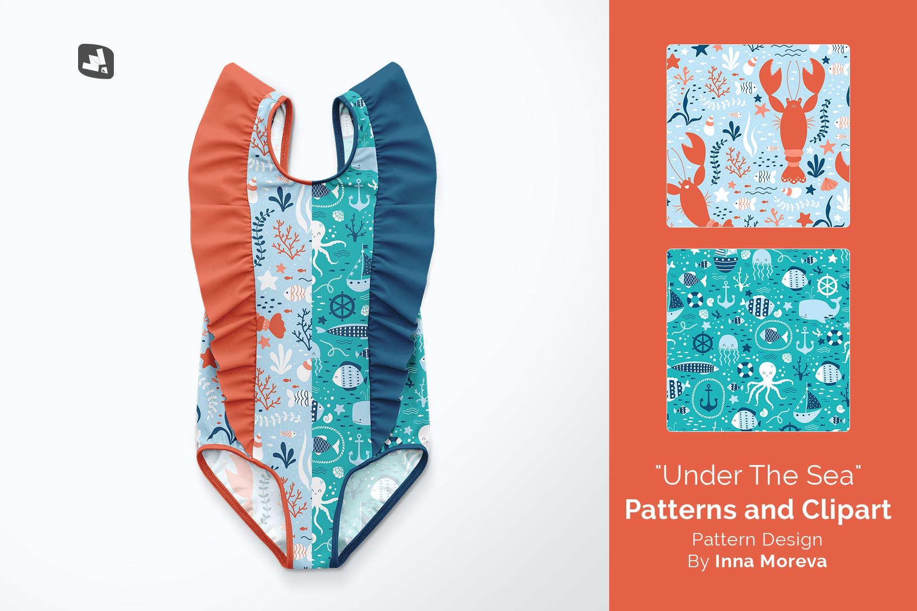 designer's credit of the baby girl's ruffled swimsuit mockup