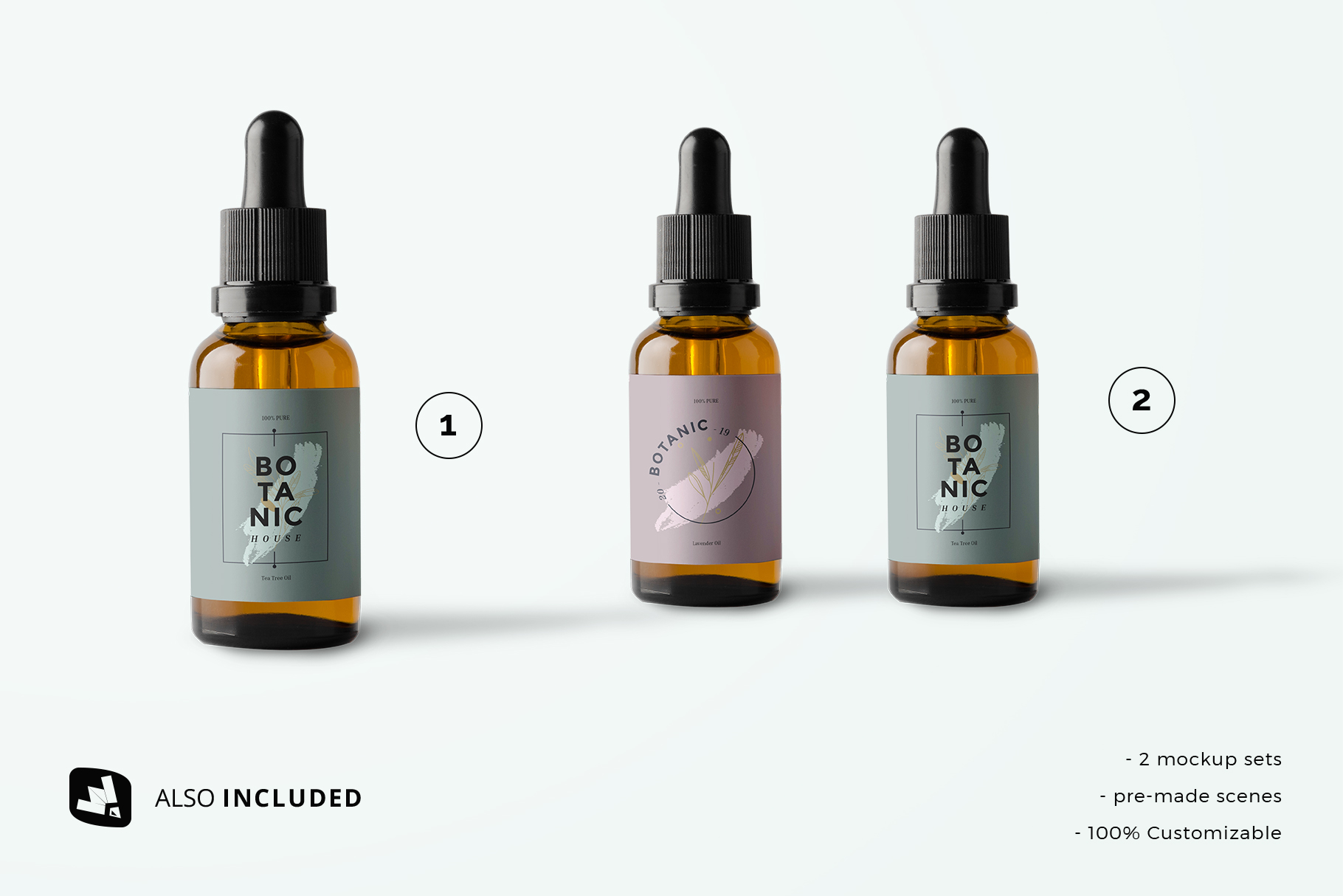 files included in the essential oil bottle packaging mockup