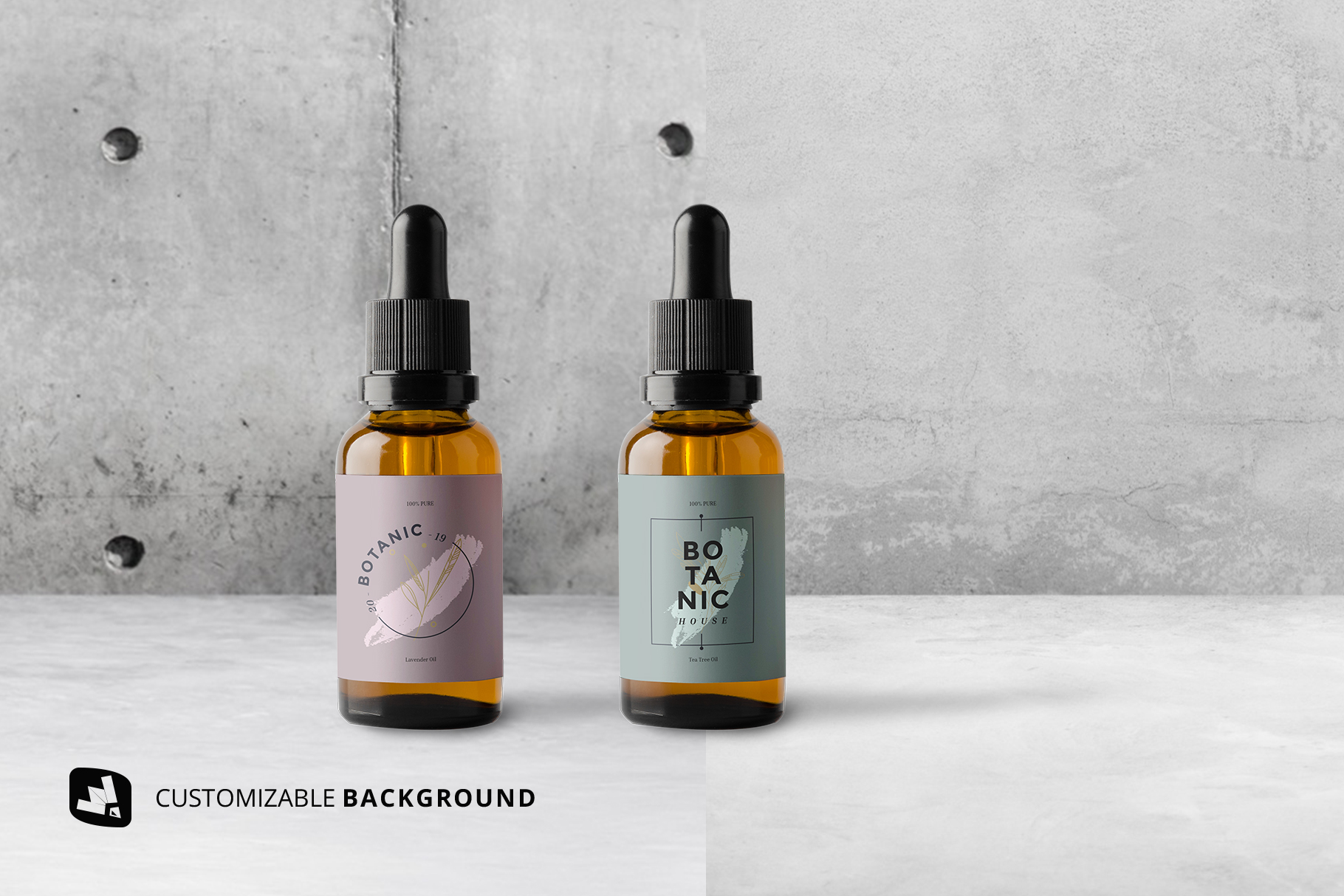 background options of the essential oil bottle packaging mockup