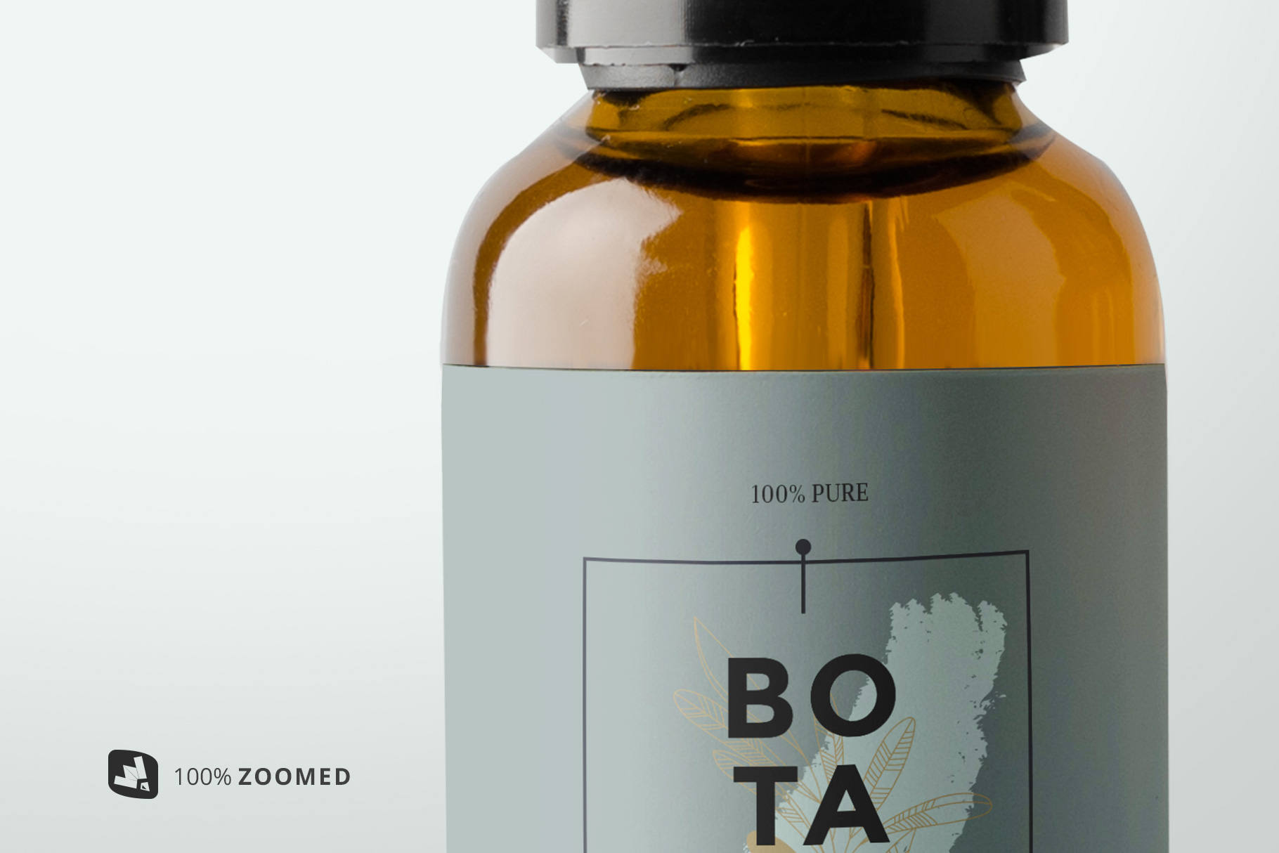 zoomed in image of the essential oil bottle packaging mockup