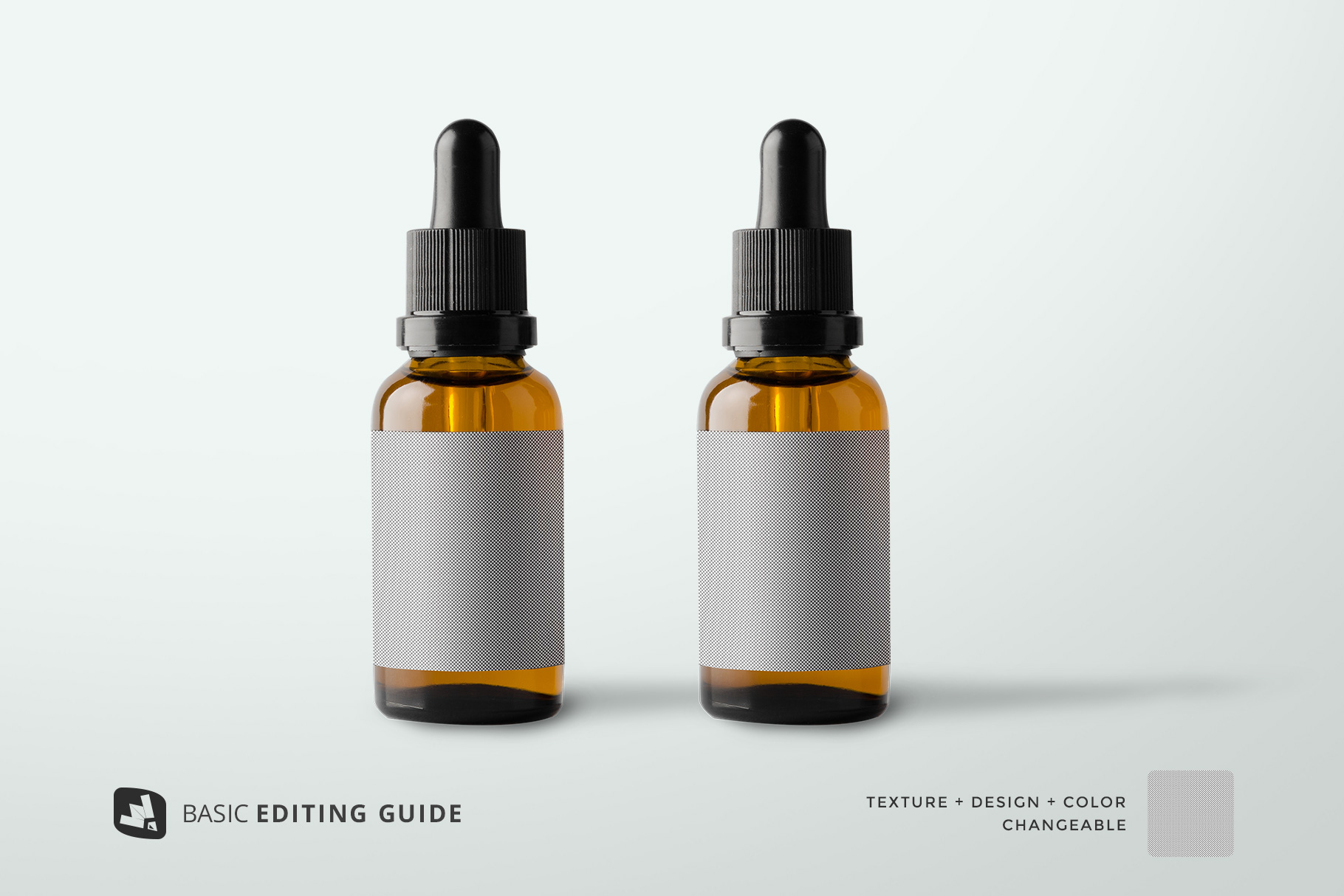 editability of the essential oil bottle packaging mockup