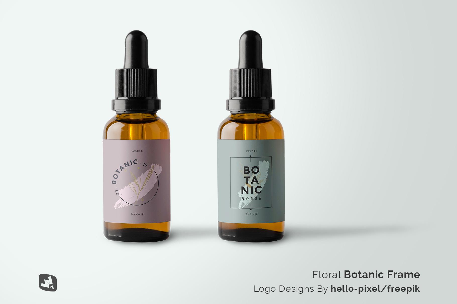 designer's credit of the essential oil bottle packaging mockup