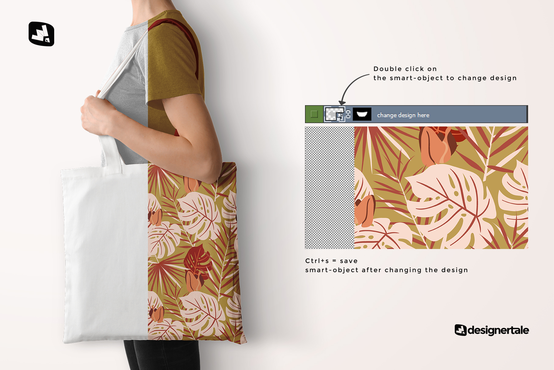 how to change design of the large cotton bag mockup with model